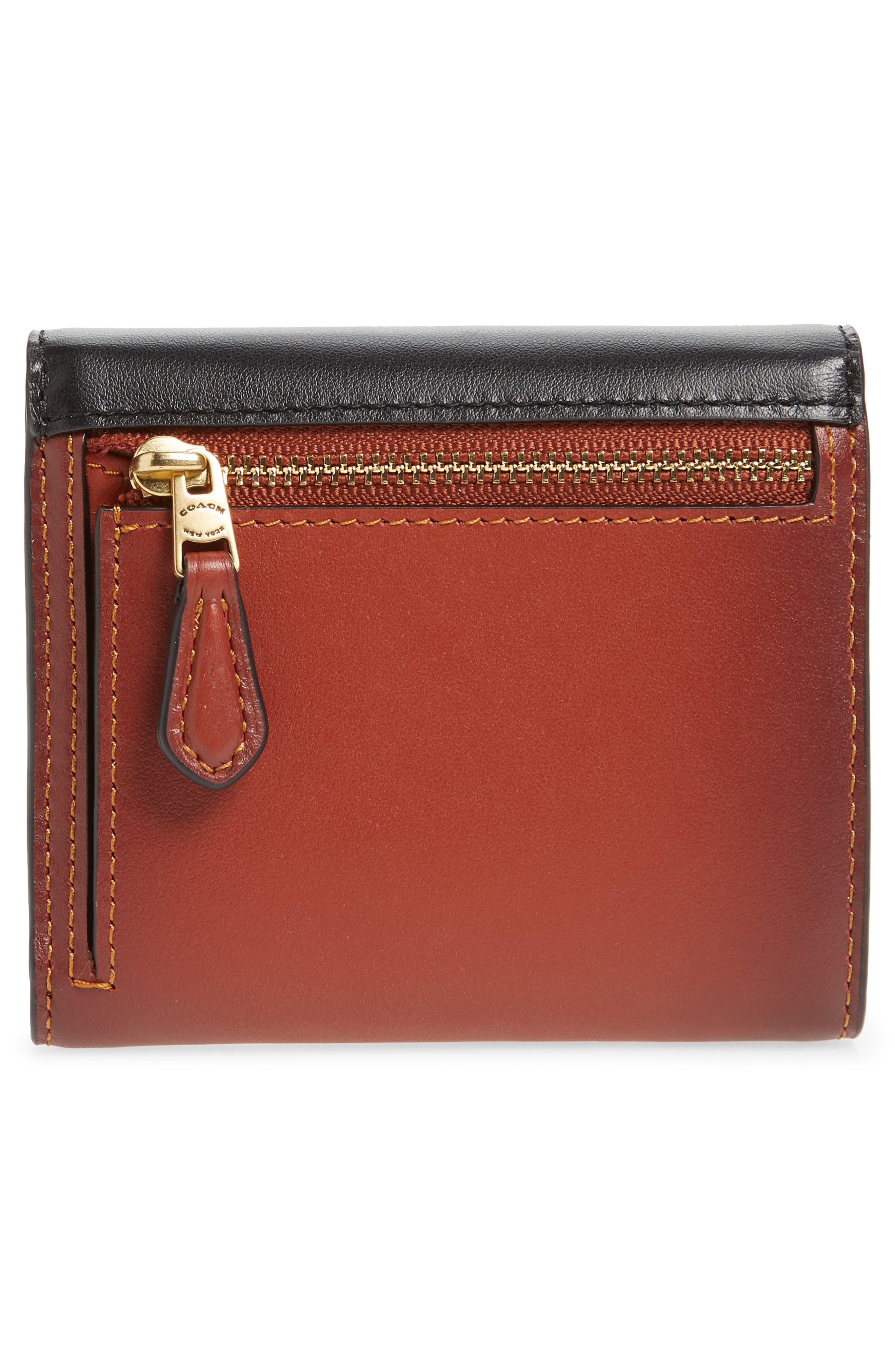 COACH, Leather & Signature Canvas Trifold Wallet, Alternate thumbnail 4, color, TAN BLACK