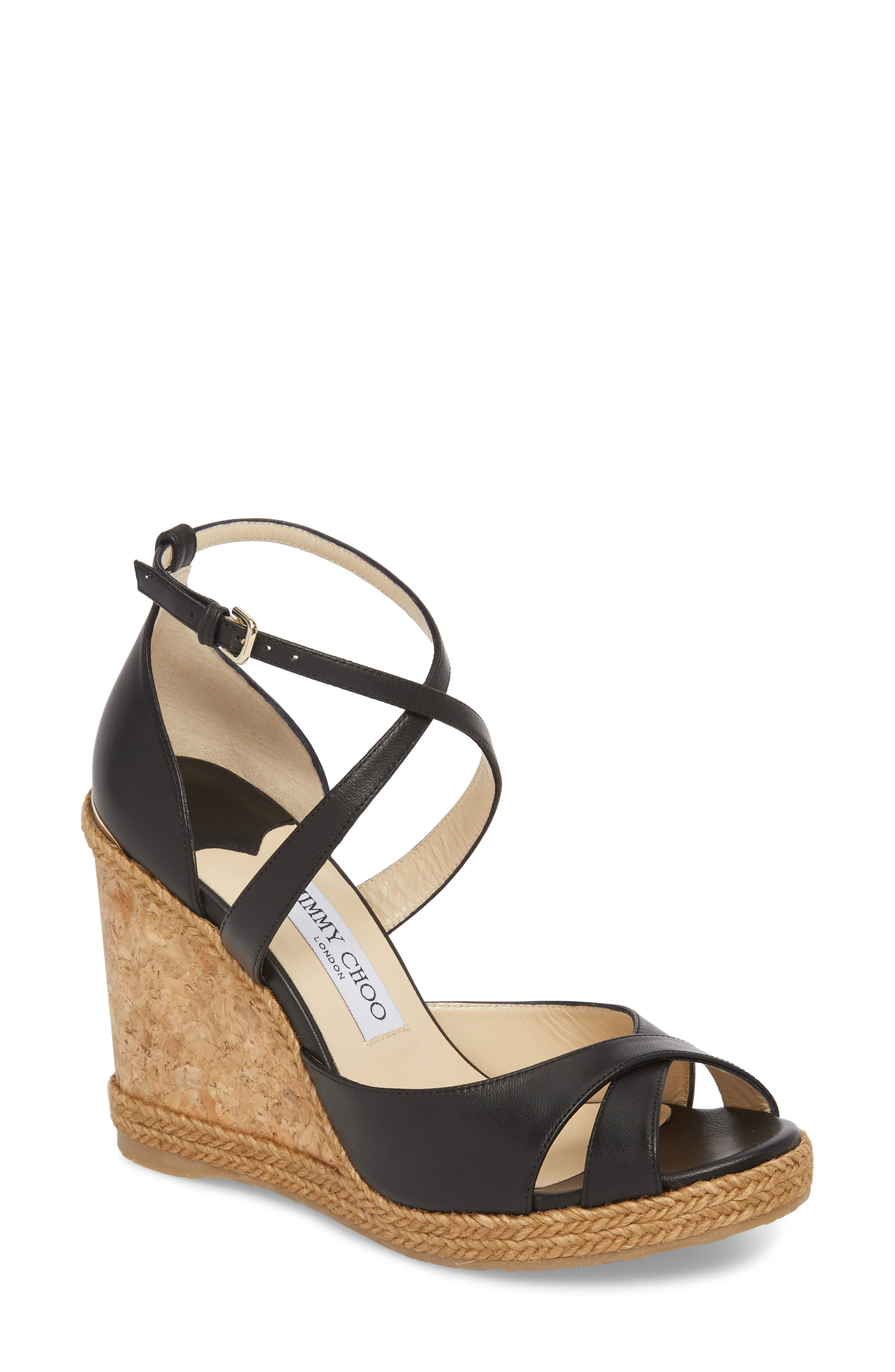 JIMMY CHOO, Alanah Espadrille Wedge Sandal, Main thumbnail 1, color, BLACK