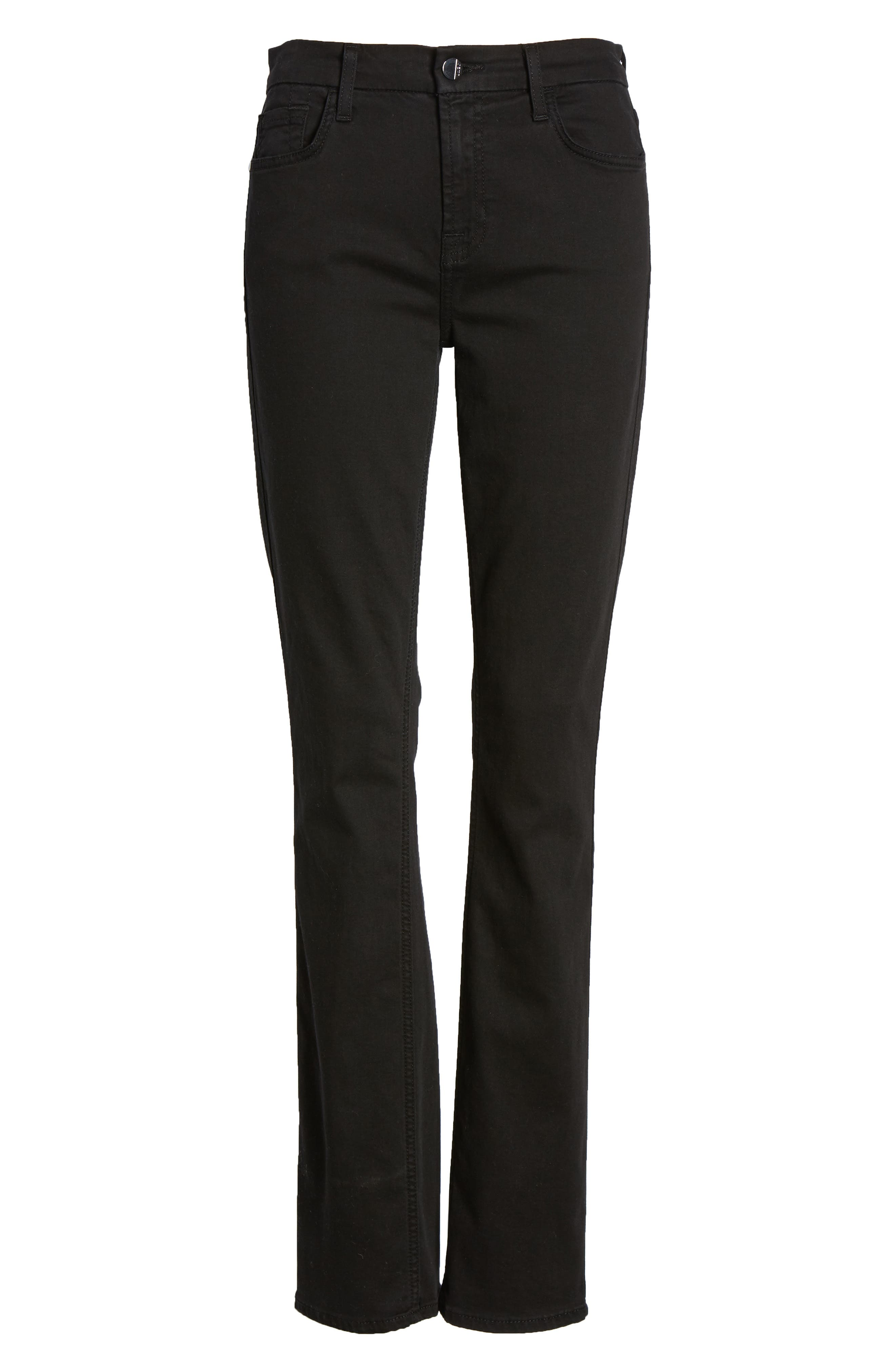 JEN7 BY 7 FOR ALL MANKIND, Stretch Slim Straight Leg Jeans, Alternate thumbnail 6, color, CLASSIC BLACK NOIR