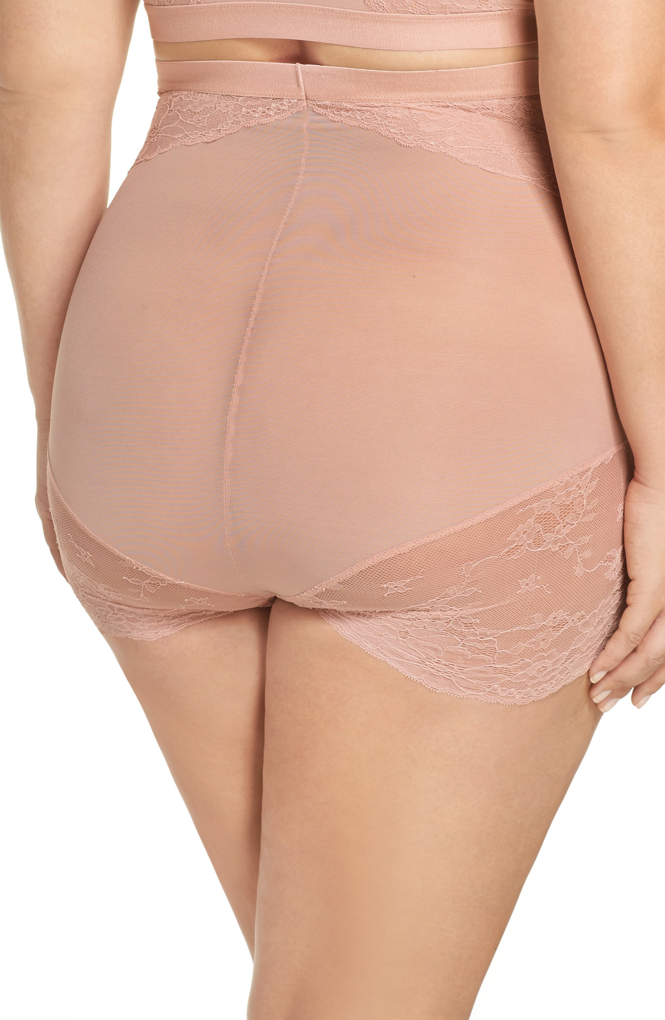 SPANX<SUP>®</SUP>, On Lace High Waist Briefs, Alternate thumbnail 2, color, VINTAGE ROSE