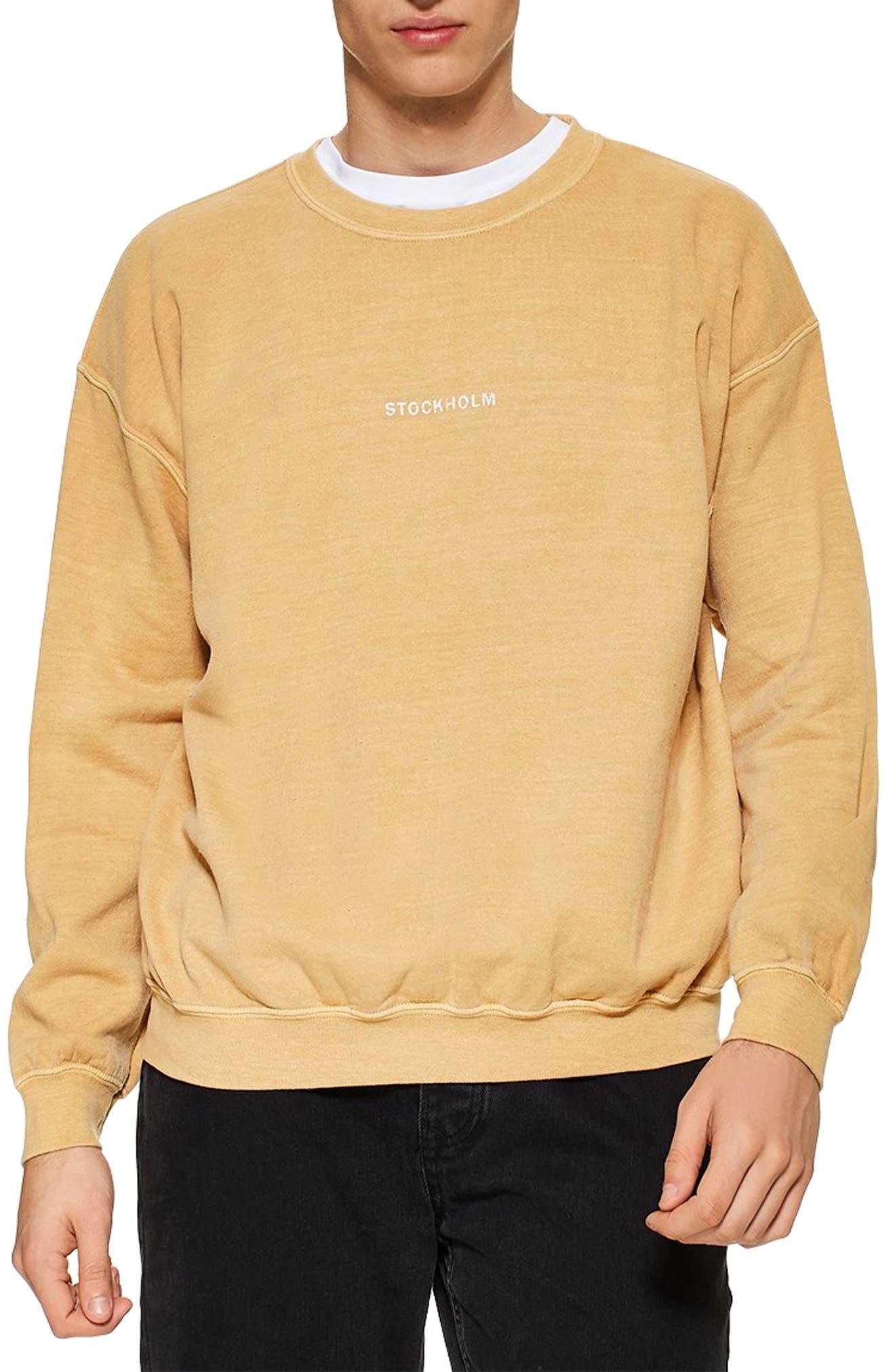 TOPMAN, Stockholm Sweatshirt, Main thumbnail 1, color, YELLOW