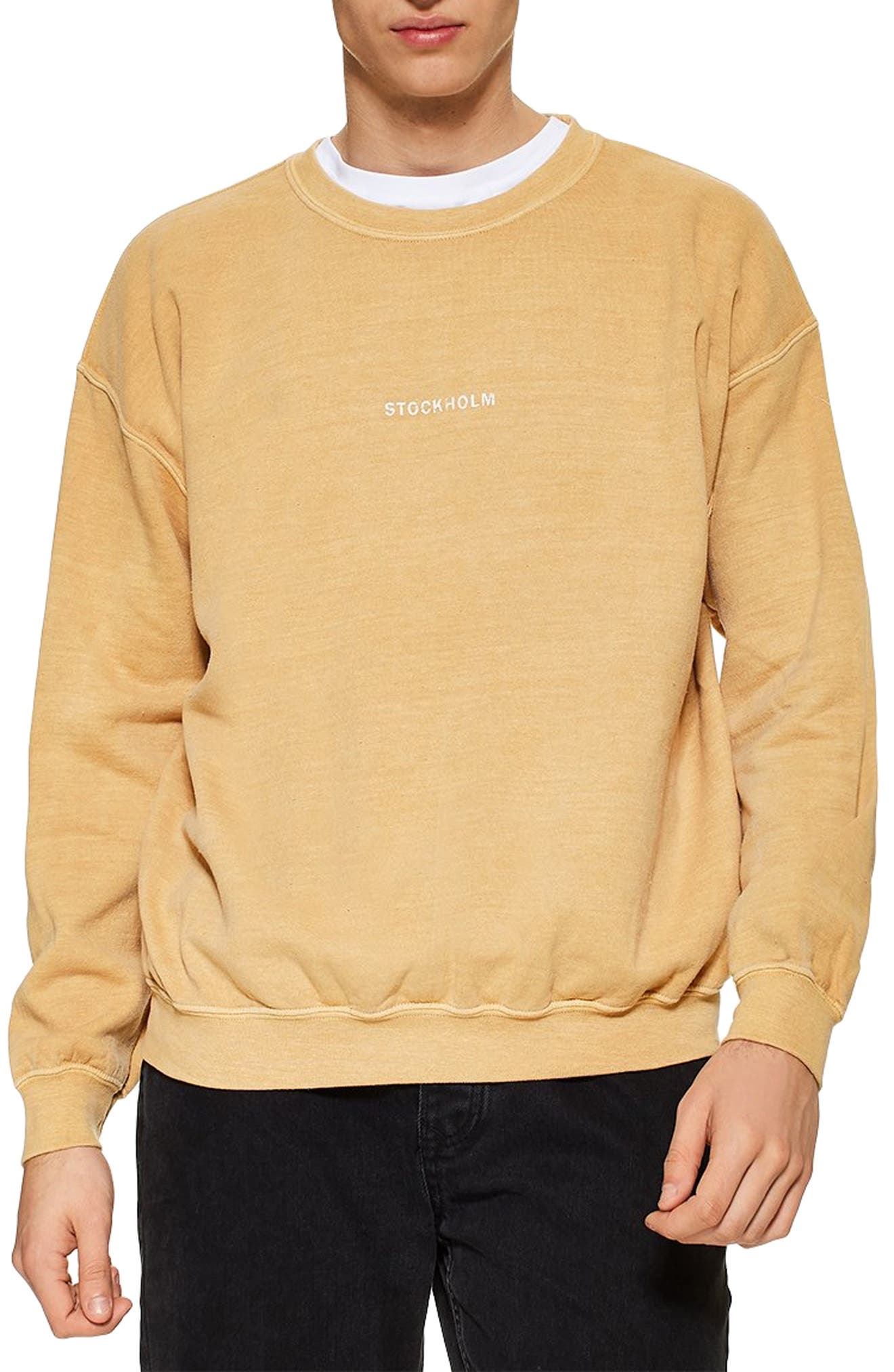 TOPMAN Stockholm Sweatshirt, Main, color, YELLOW