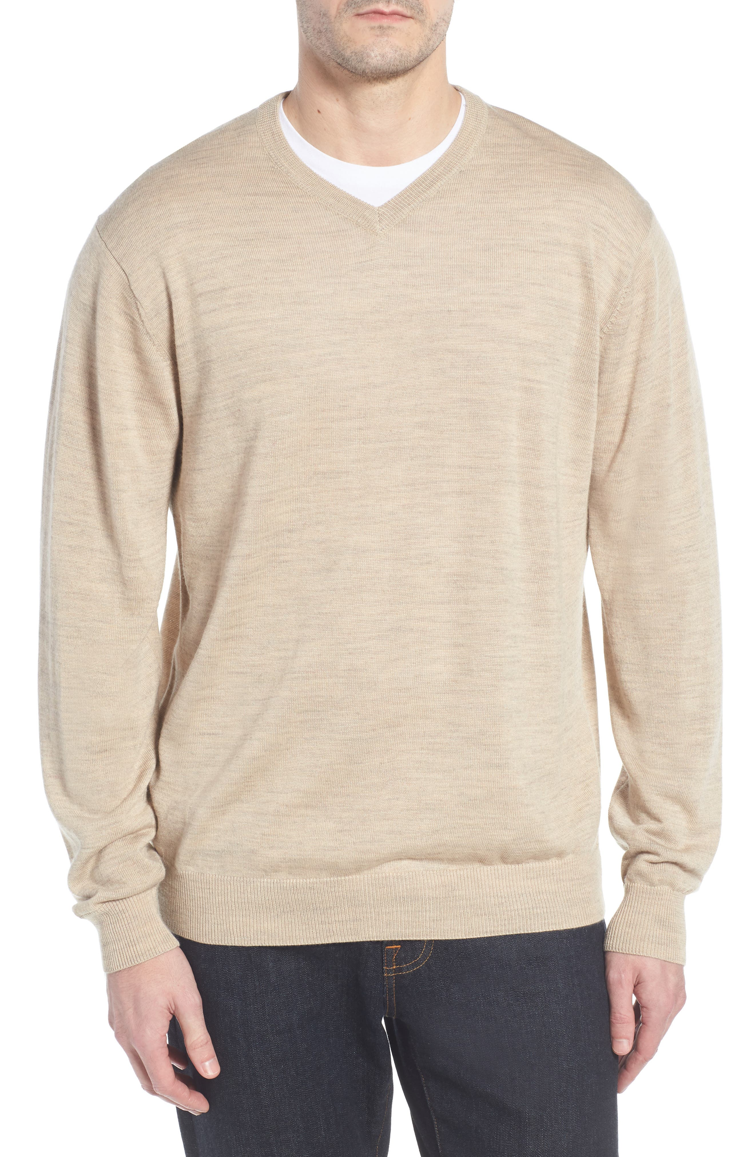 CUTTER & BUCK 'Douglas' Merino Wool Blend V-Neck Sweater, Main, color, SAND HEATHER