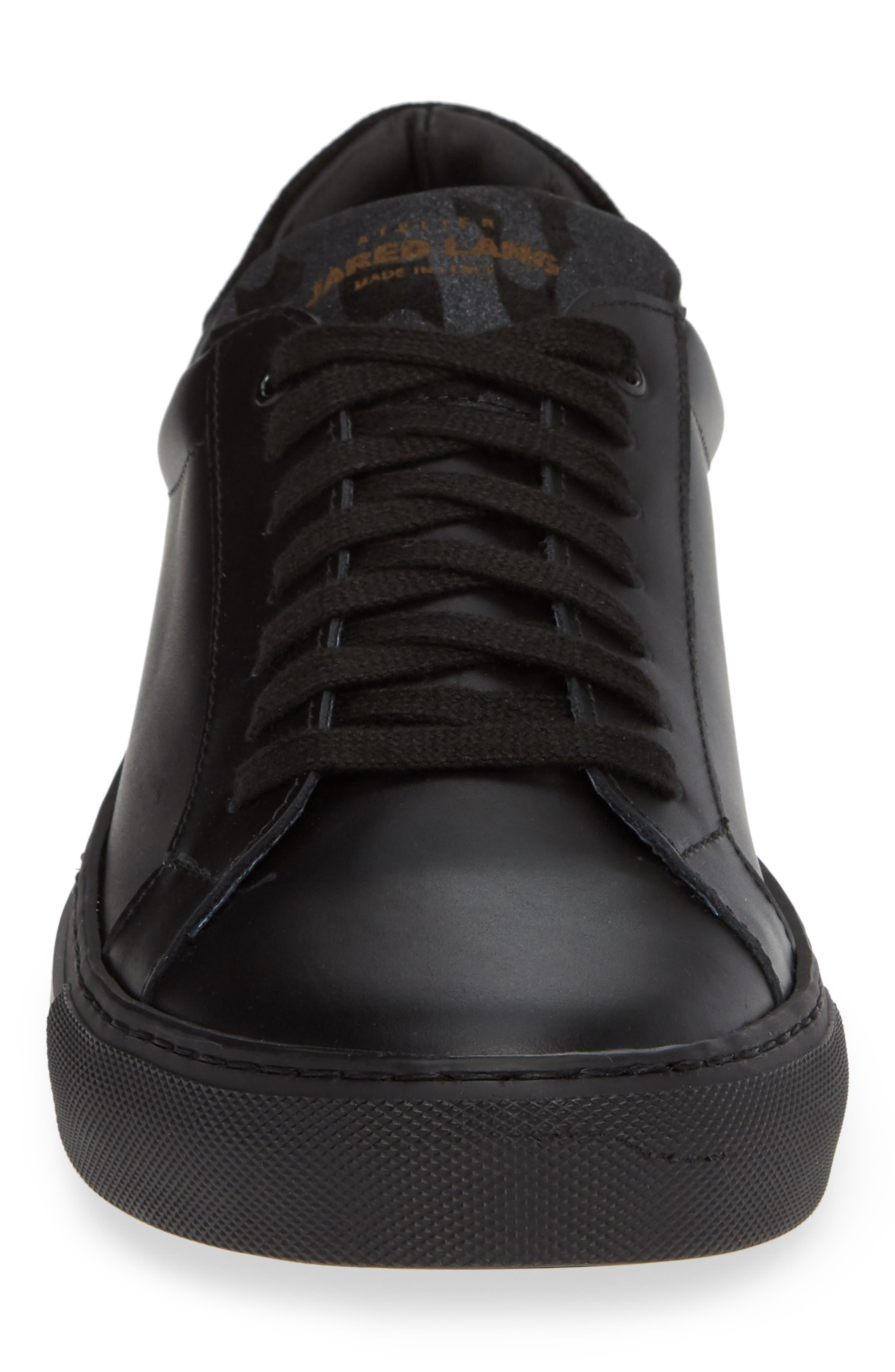 JARED LANG, Rome Sneaker, Alternate thumbnail 4, color, BLACK