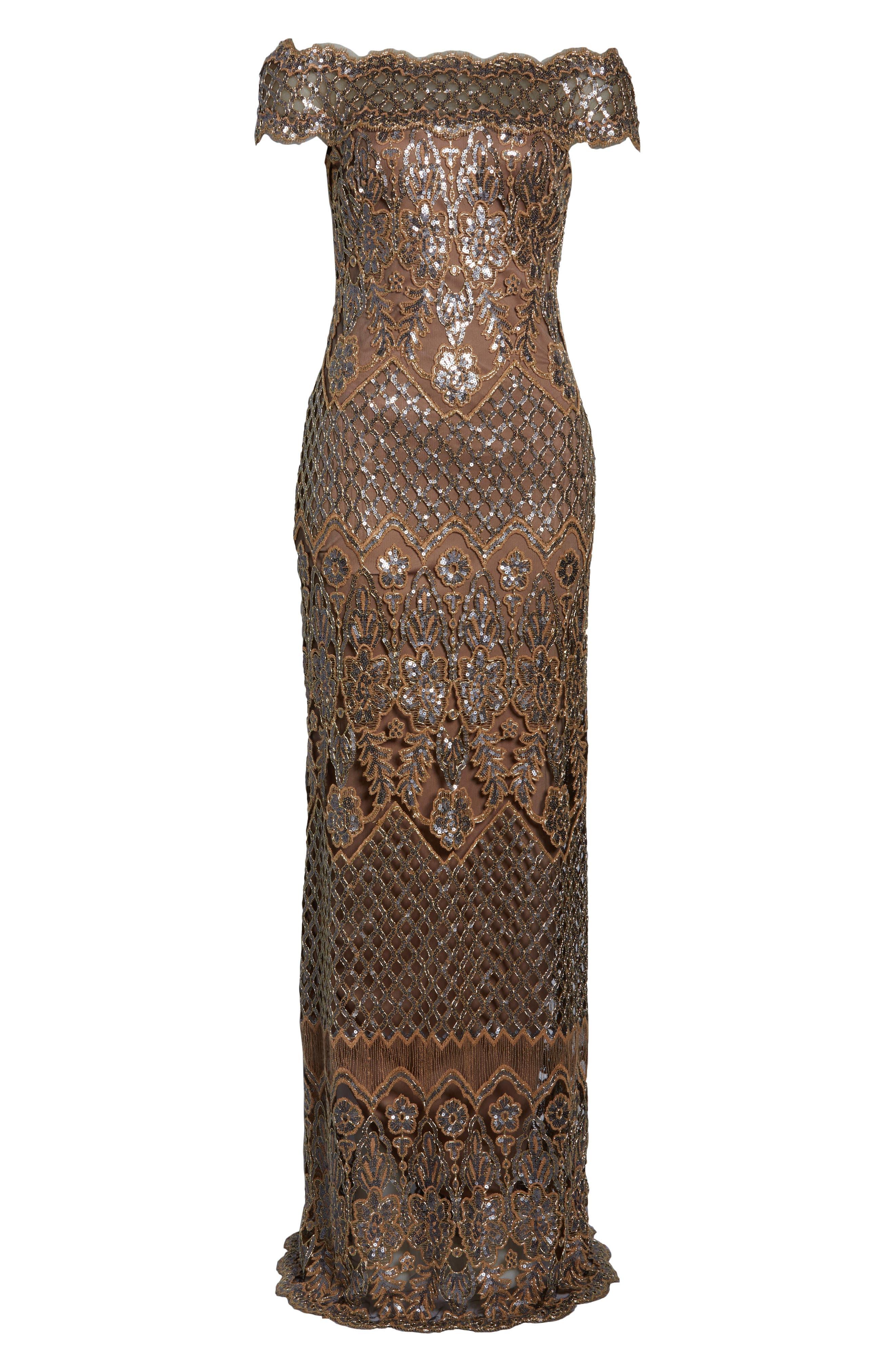 TADASHI SHOJI, Illusion Neck Sequin Lace Evening Dress, Alternate thumbnail 7, color, 230