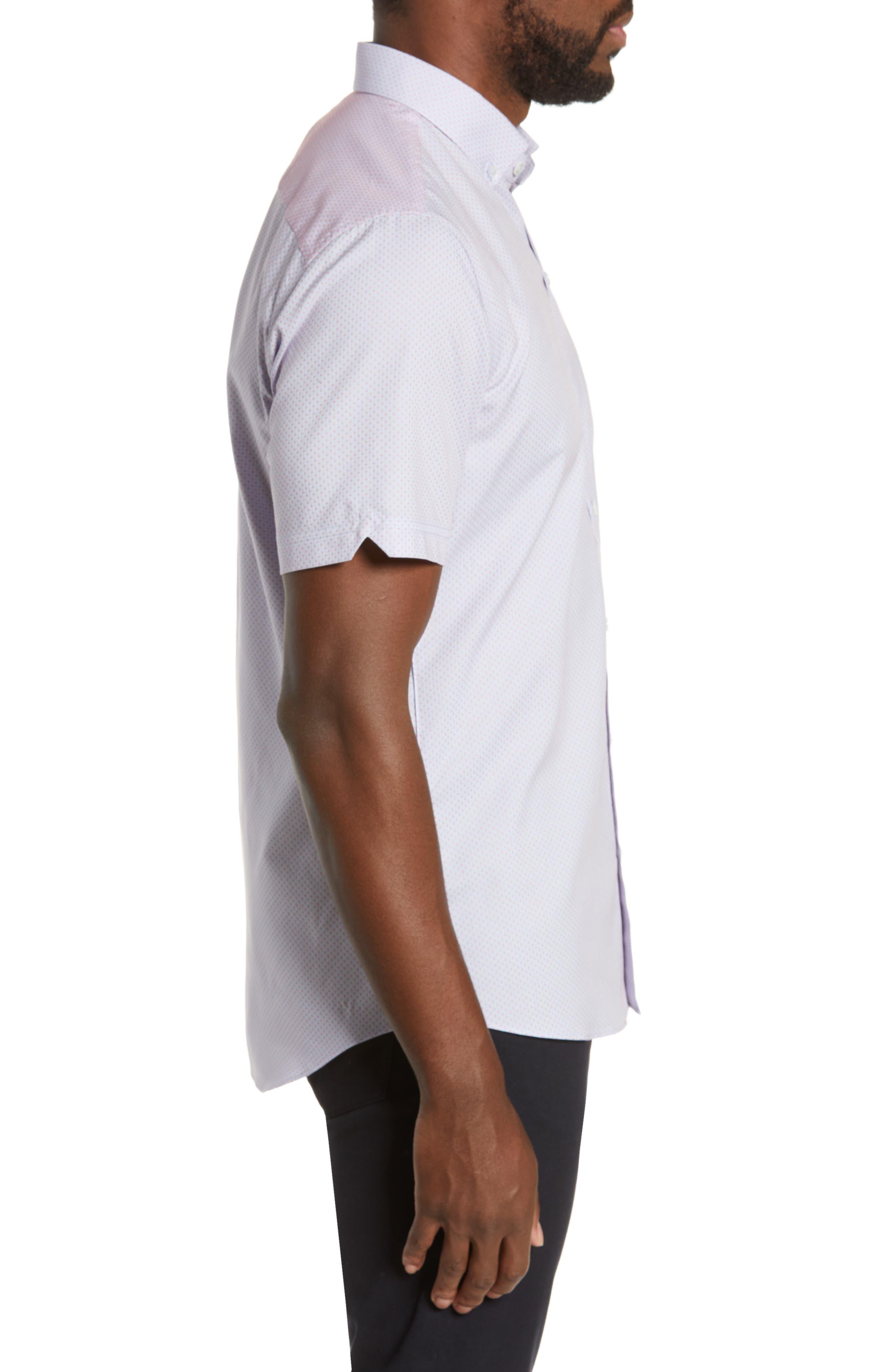 ZACHARY PRELL, McGrew Regular Fit Sport Shirt, Alternate thumbnail 4, color, FLAMINGO