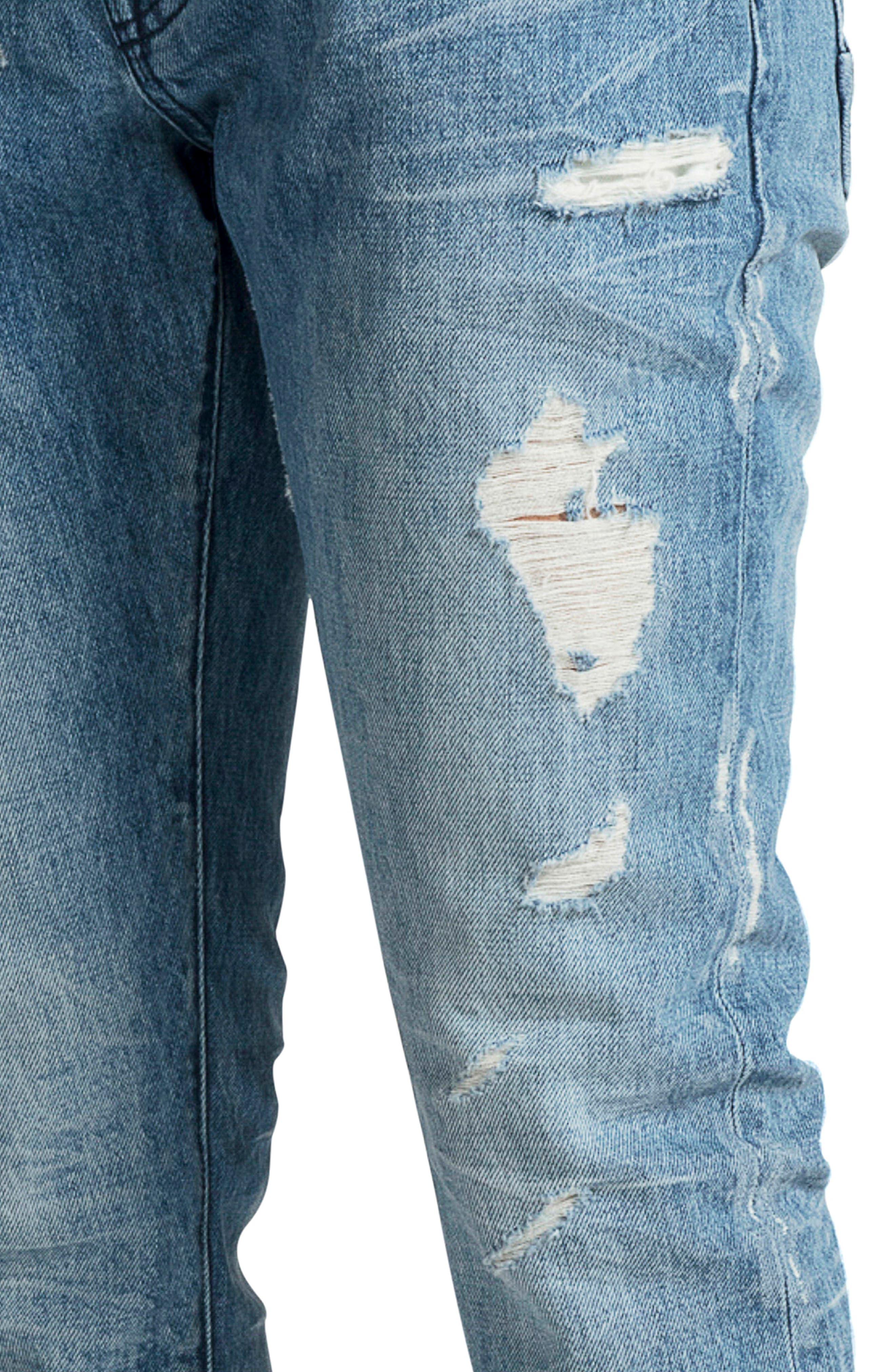 PRPS, Le Sabre Slim Fit Jeans, Alternate thumbnail 4, color, BLUE