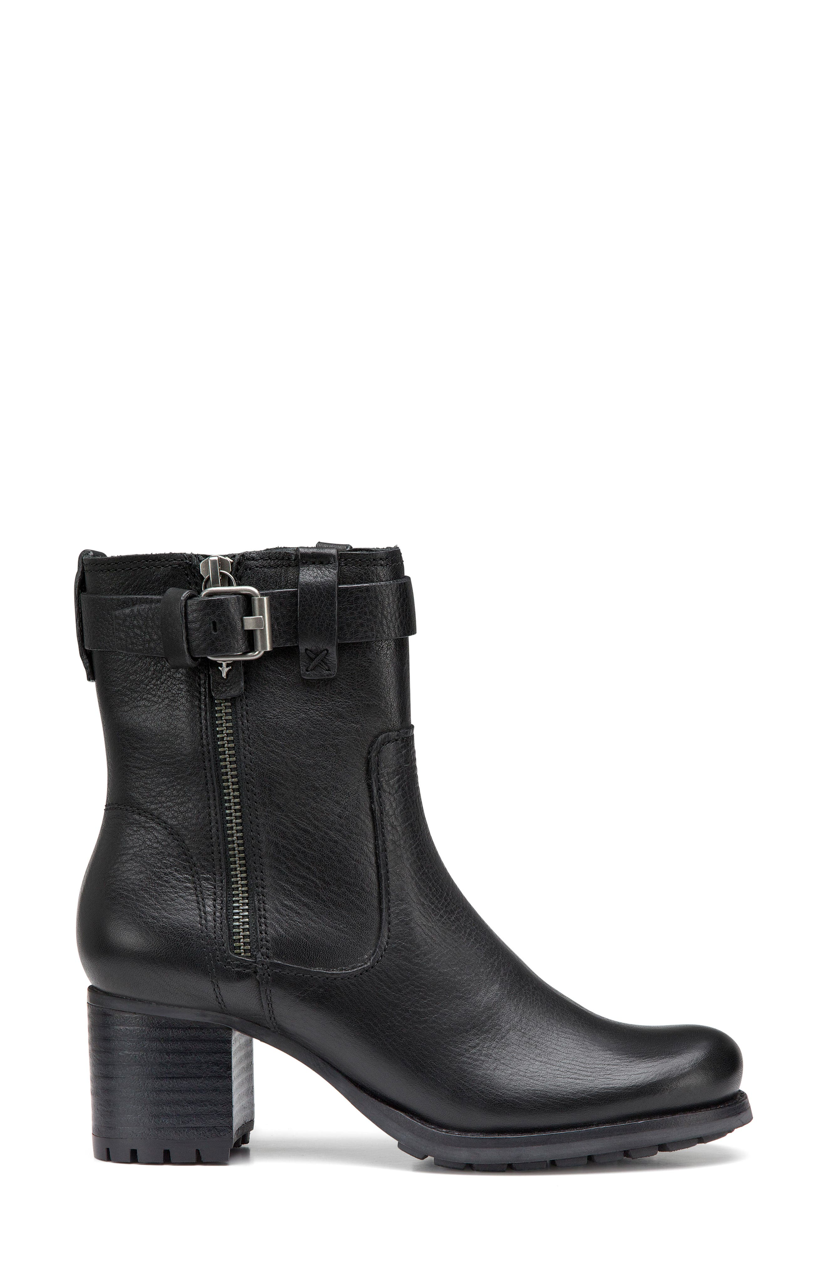 TRASK, Madison Waterproof Boot, Alternate thumbnail 3, color, BLACK LEATHER