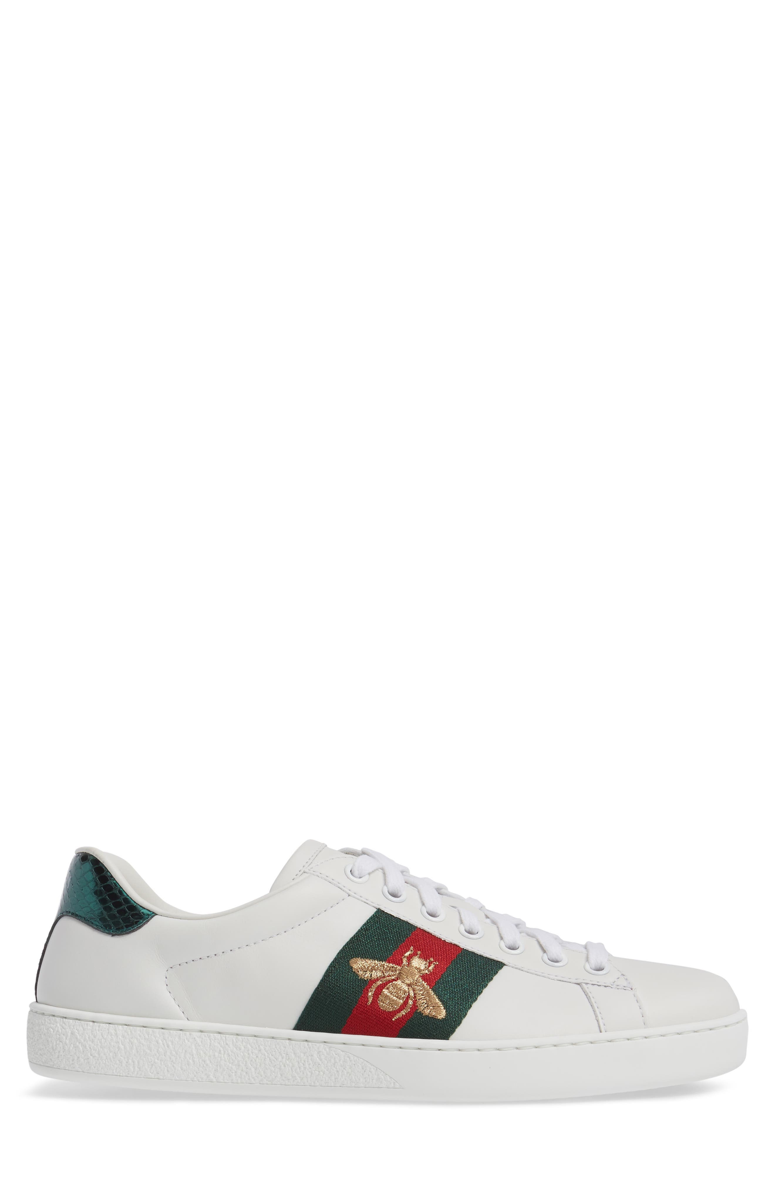 GUCCI, New Ace Sneaker, Alternate thumbnail 3, color, BIANCO MULTI LEATHER