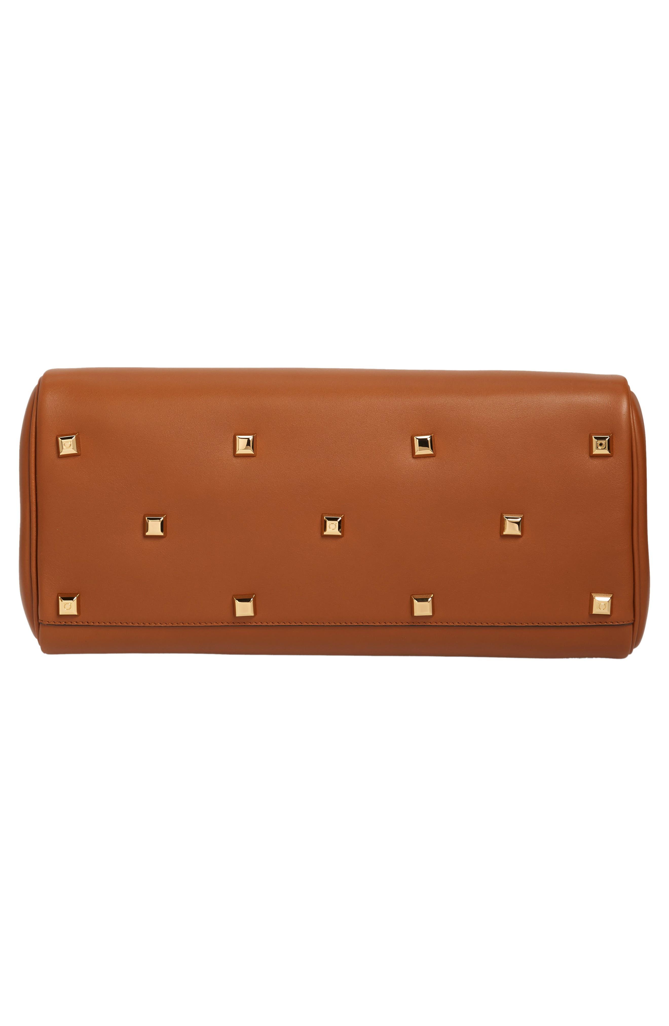 SALVATORE FERRAGAMO, Medium The Studio Calfskin Leather Top Handle Bag, Alternate thumbnail 6, color, SELLA