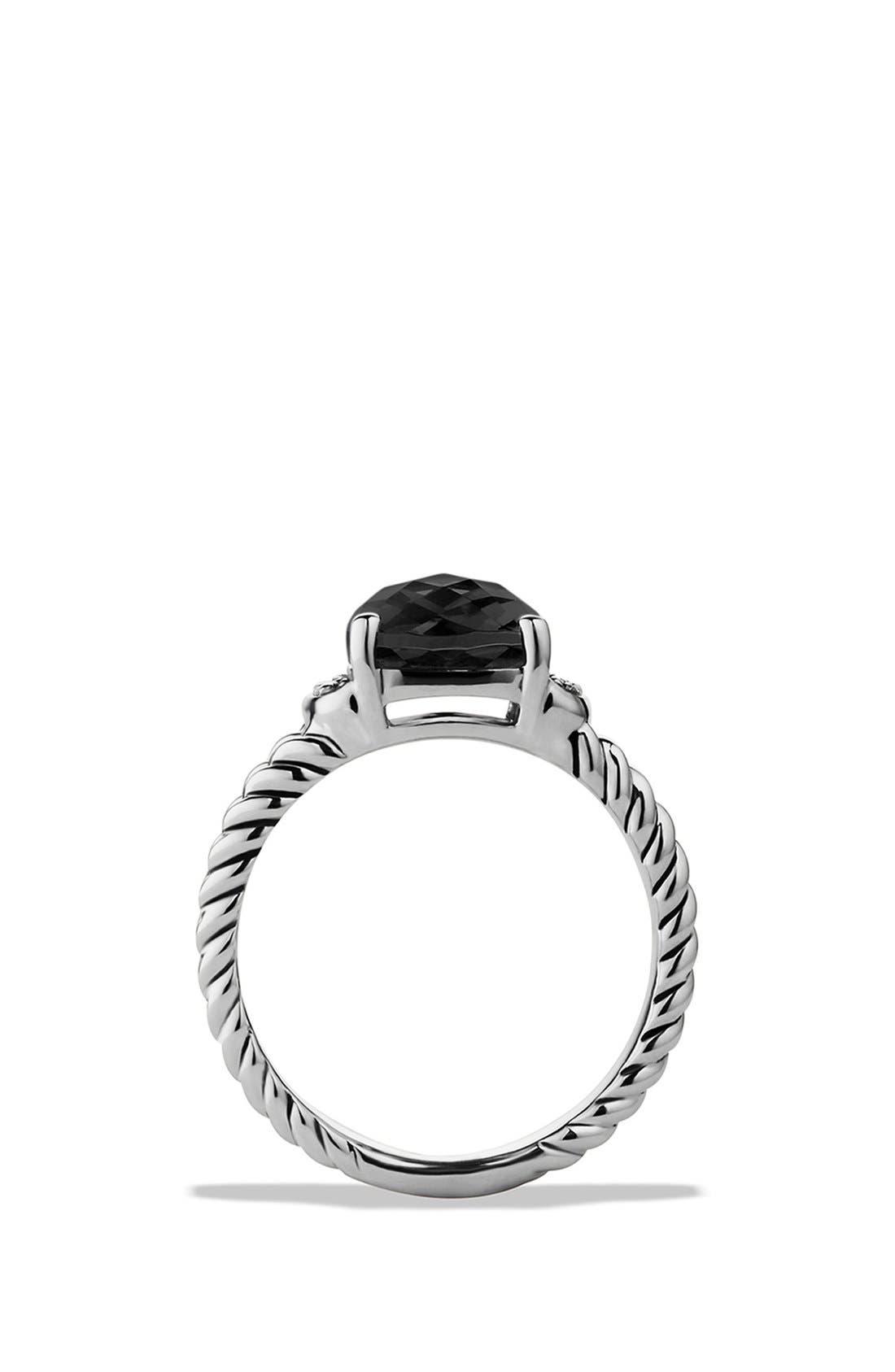 DAVID YURMAN, 'Wheaton' Petite Ring with Semiprecious Stone & Diamonds, Alternate thumbnail 5, color, BLACK ONYX