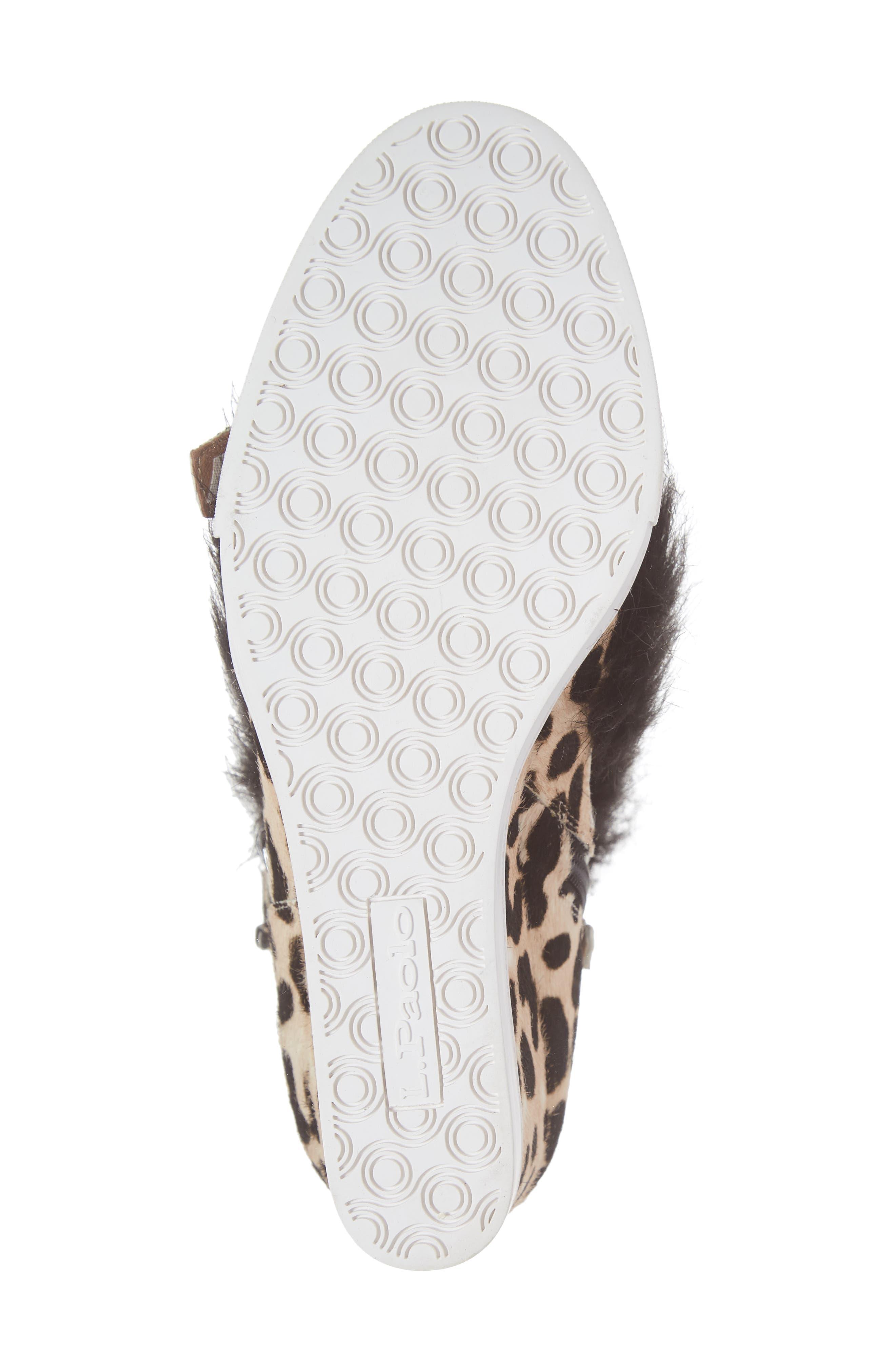 LINEA PAOLO, Fifi 2 Wedge Sneaker, Alternate thumbnail 6, color, WHITE/ BLACK LEOPARD HAIRCALF