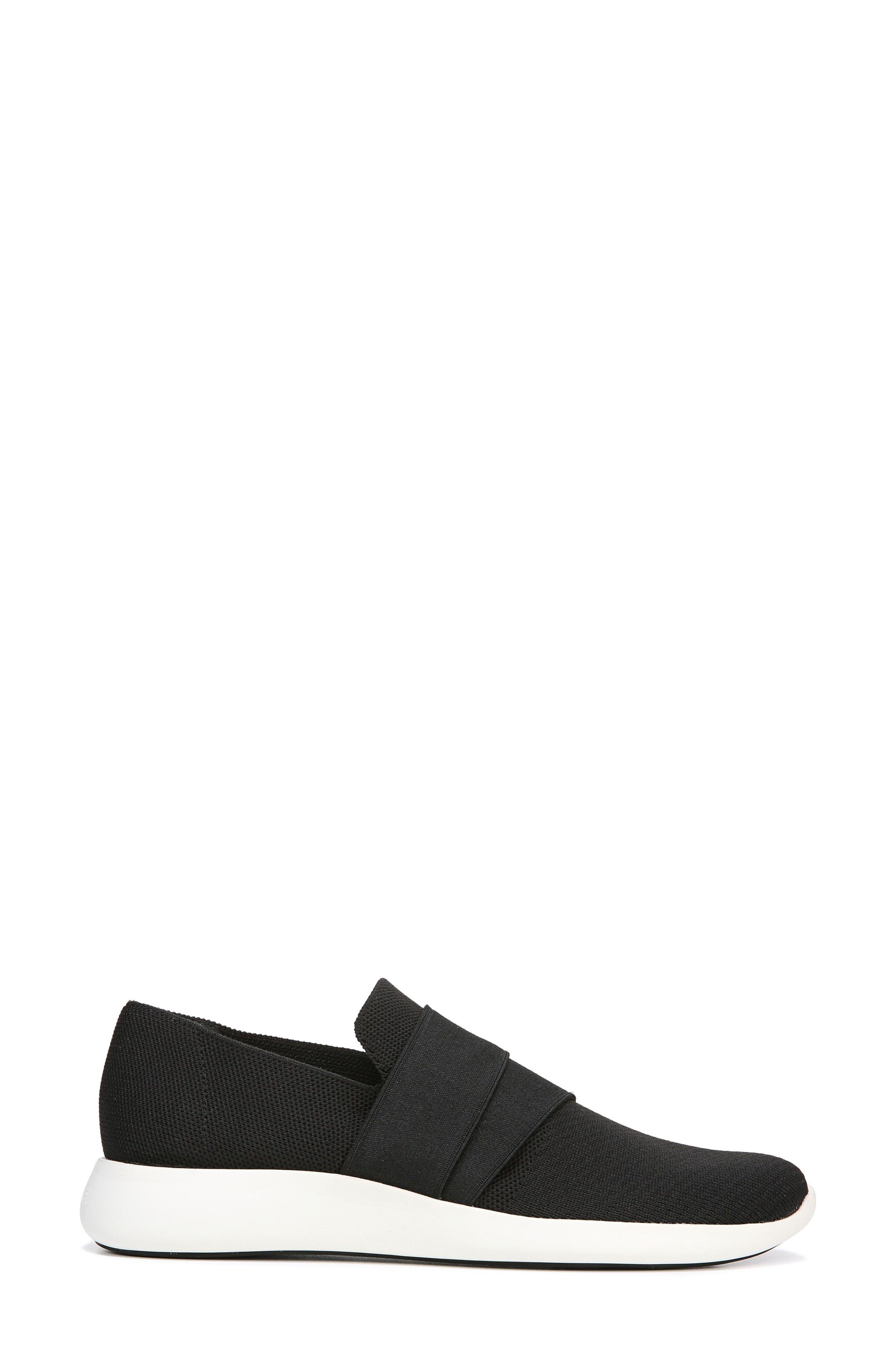 VINCE, Aston Slip-On Sneaker, Alternate thumbnail 3, color, BLACK SOLID KNIT