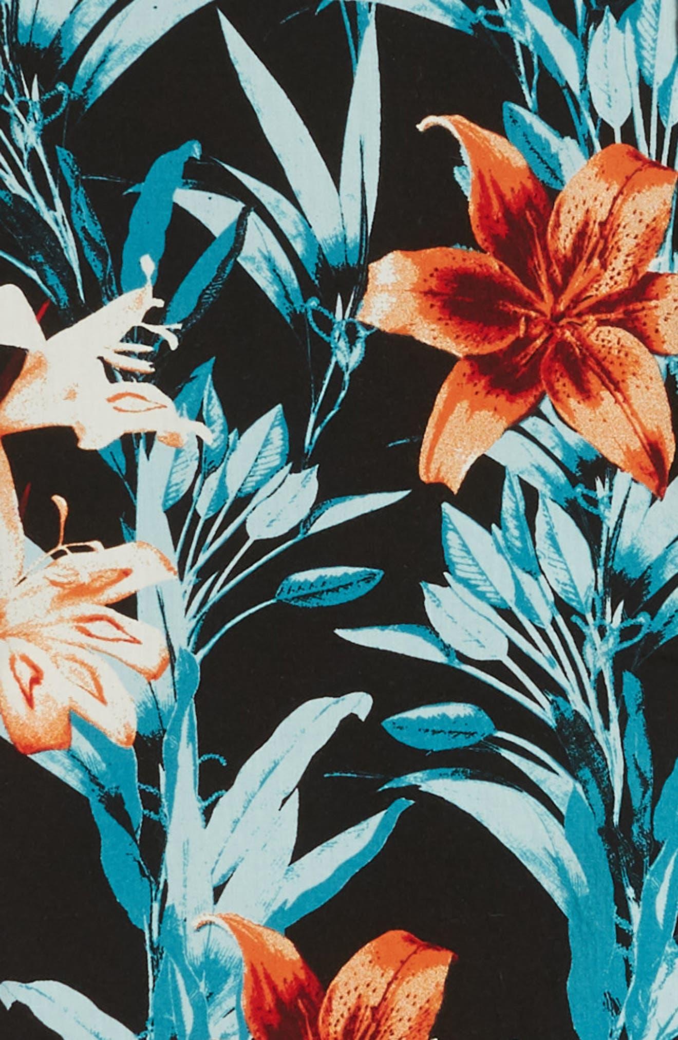RVCA, Montague Floral Woven Shirt, Alternate thumbnail 6, color, 001