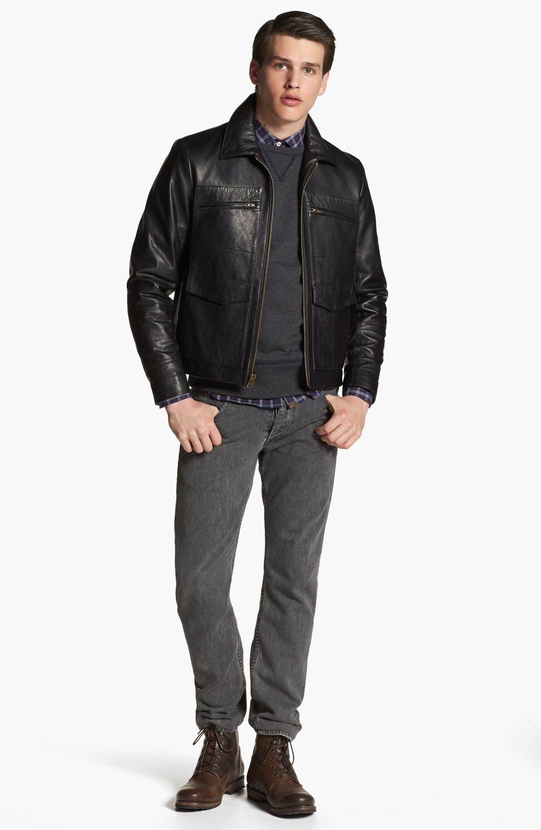 BILLY REID, Leather Flight Jacket, Alternate thumbnail 3, color, 001