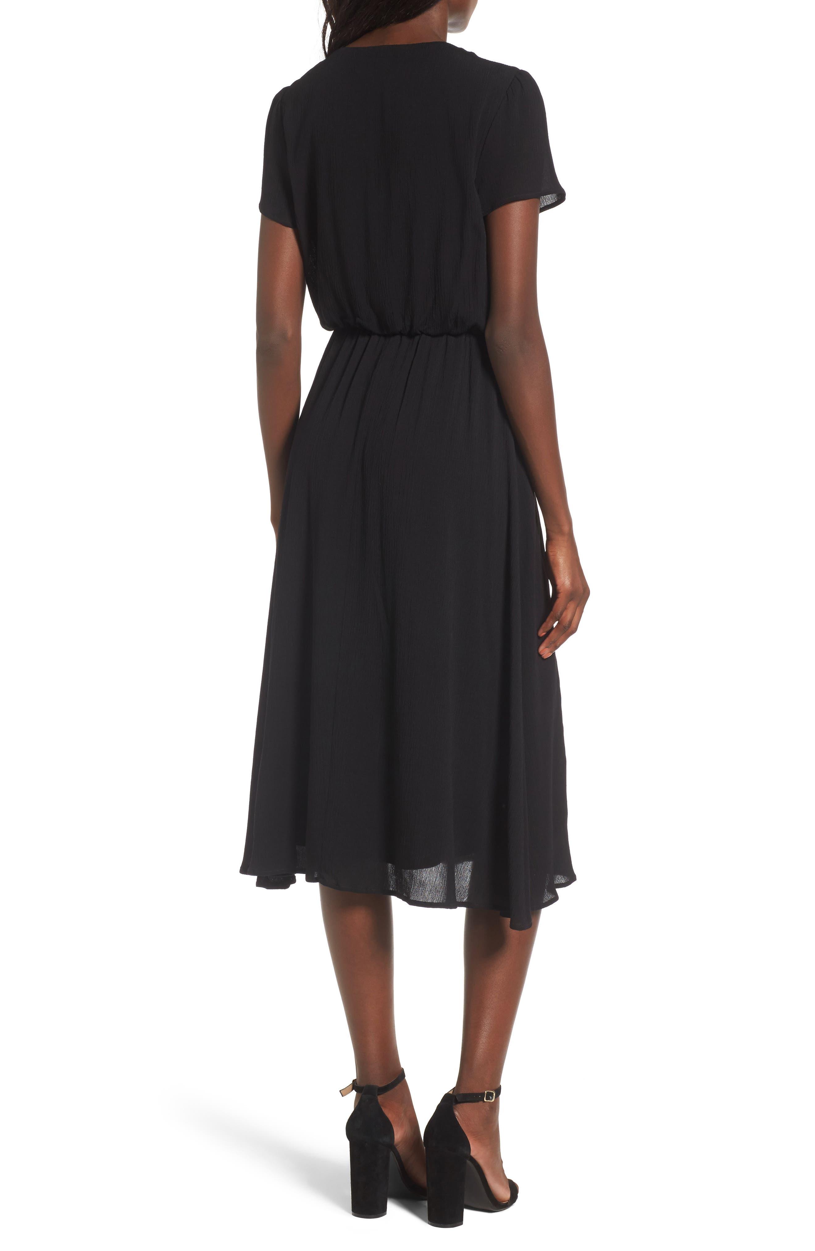 WAYF, Blouson Midi Dress, Alternate thumbnail 2, color, BLACK