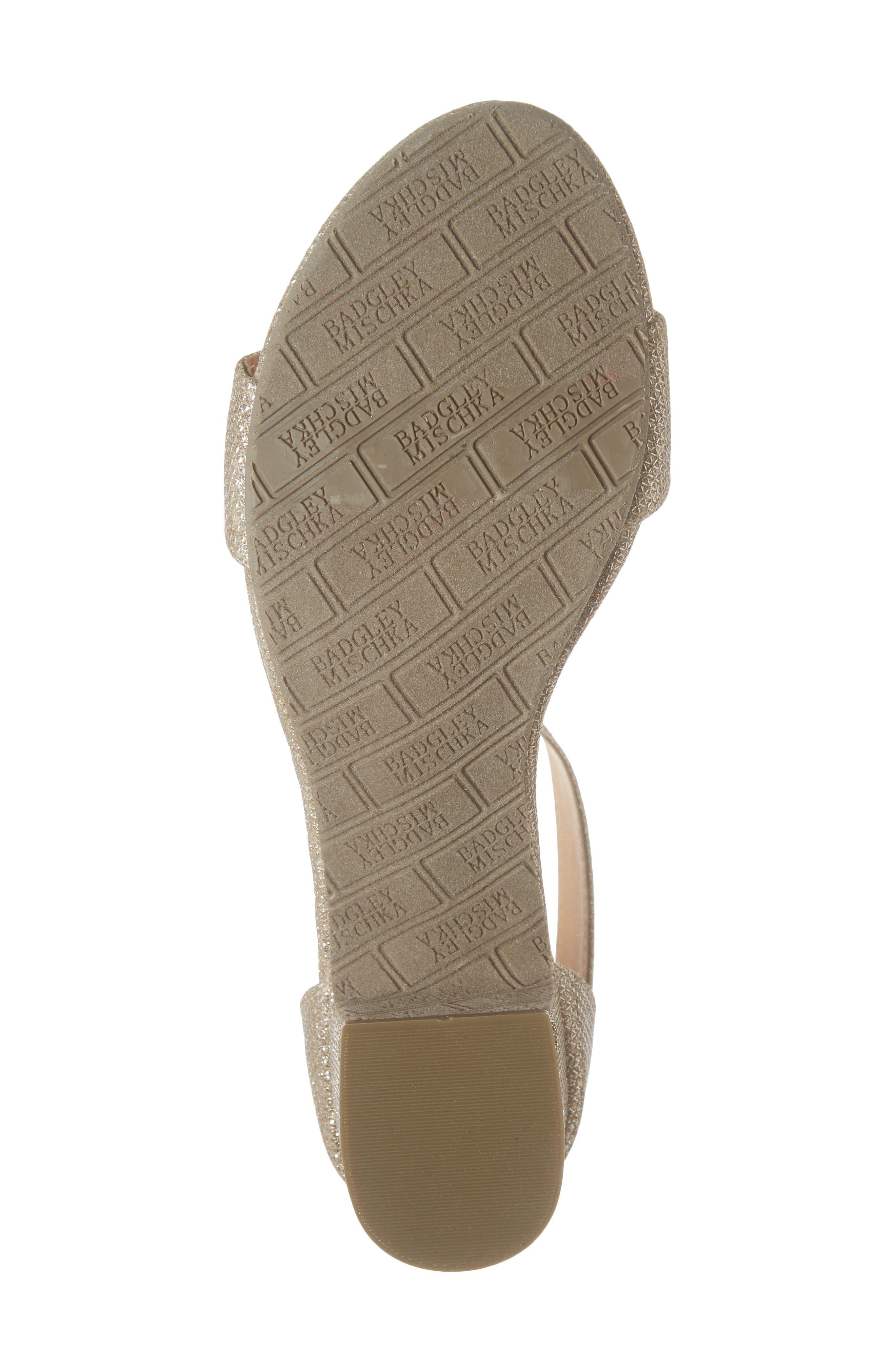 BADGLEY MISCHKA COLLECTION, Badgley Mischka Pernia Velma Shimmer Sandal, Alternate thumbnail 6, color, LIGHT GOLD SHIMMER
