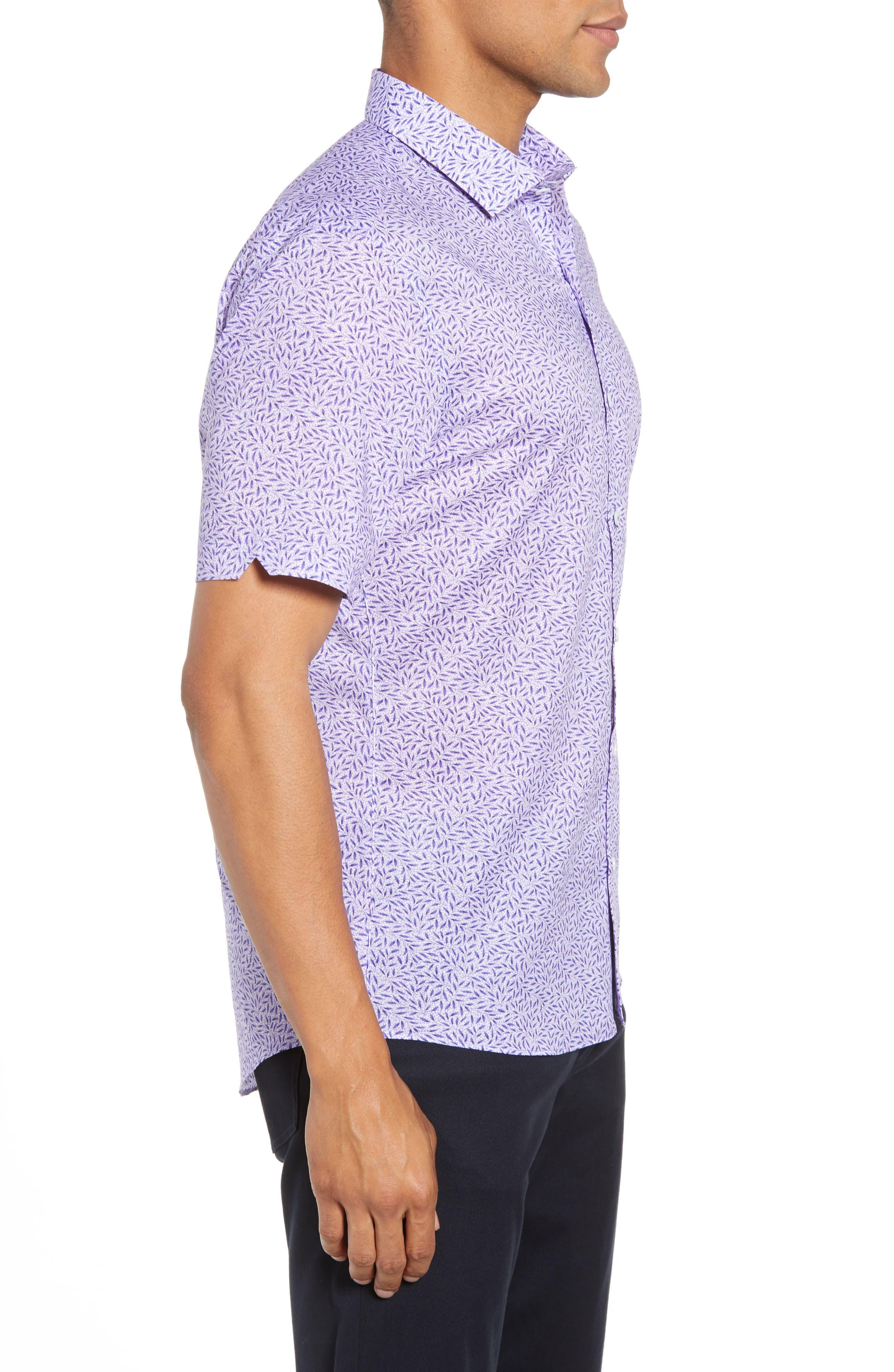 ZACHARY PRELL, Stiller Regular Fit Sport Shirt, Alternate thumbnail 3, color, PURPLE