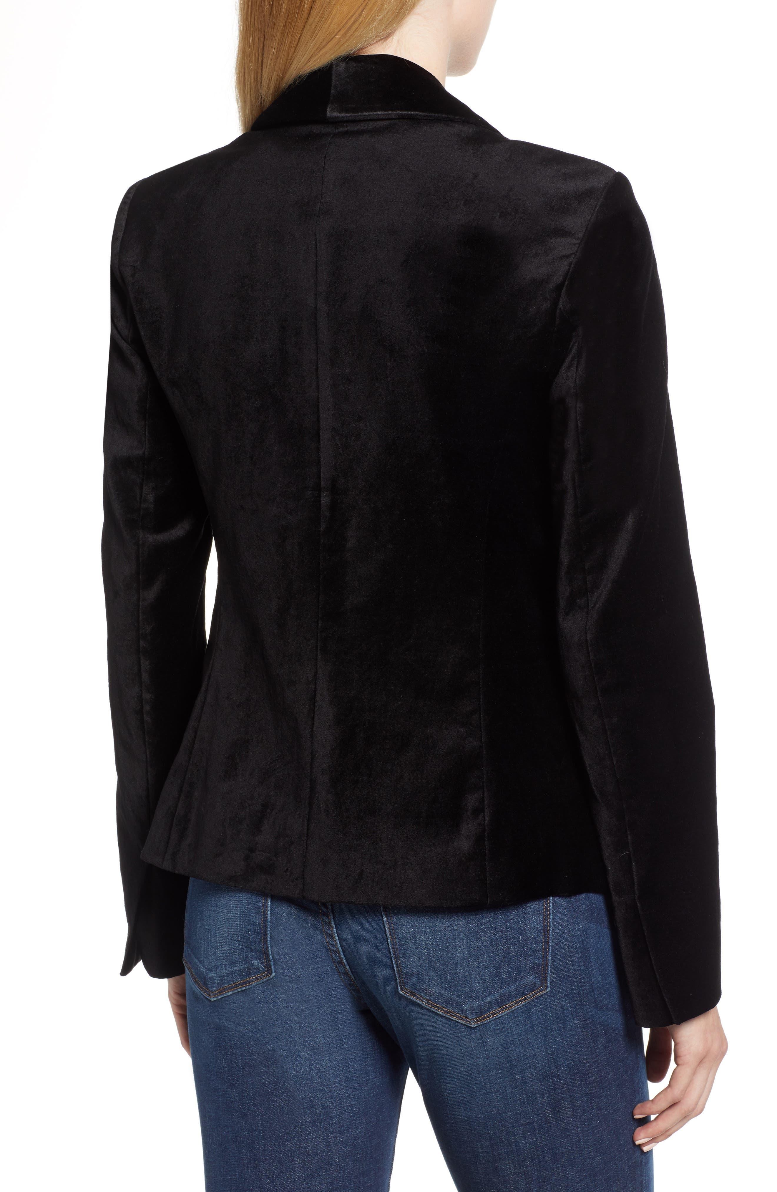 JEN7 BY 7 FOR ALL MANKIND, Stretch Cotton Velvet Blazer, Alternate thumbnail 2, color, BLACK