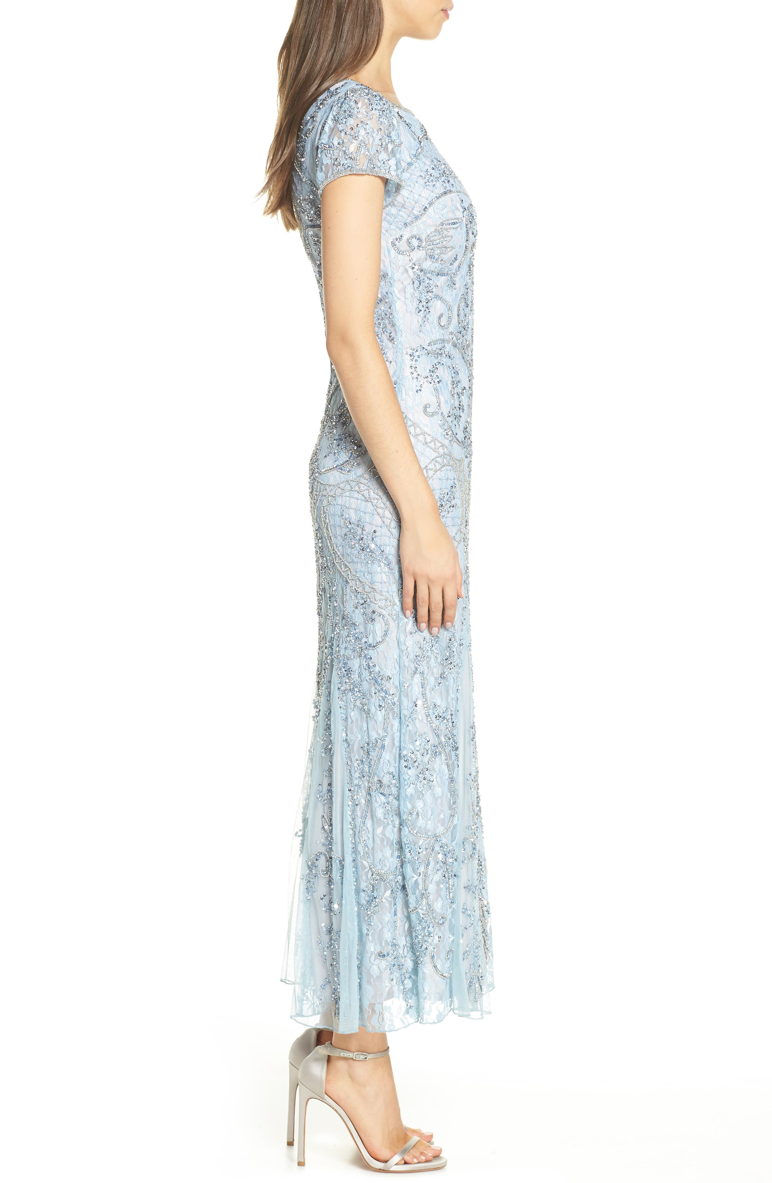 PISARRO NIGHTS, Embellished Lace Gown, Alternate thumbnail 4, color, SKY BLUE