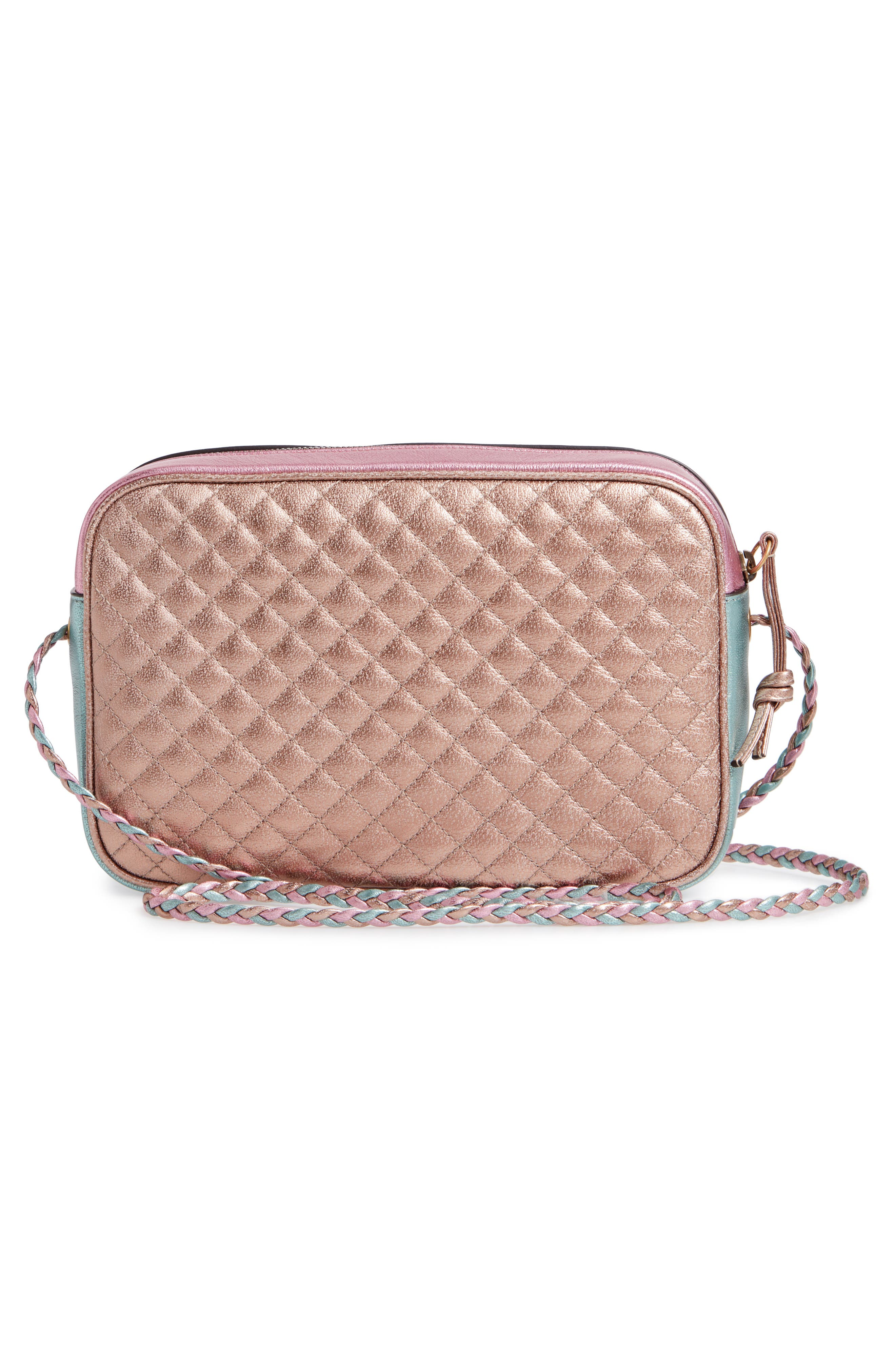 GUCCI, Small Quilted Metallic Leather Shoulder Bag, Alternate thumbnail 3, color, ROSE/ BLUE