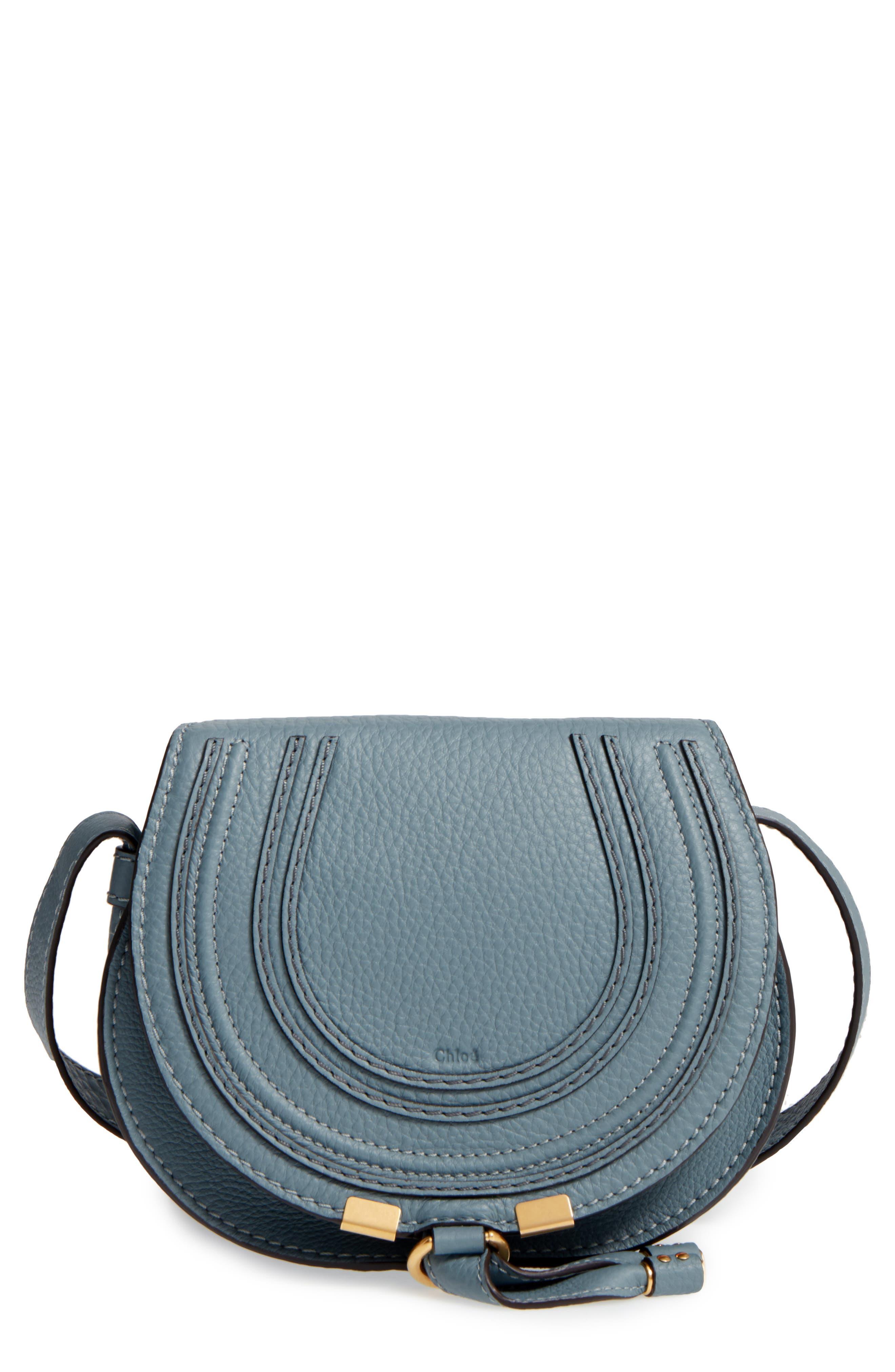 CHLOÉ, 'Mini Marcie' Leather Crossbody Bag, Main thumbnail 1, color, BFC CLOUDY BLUE