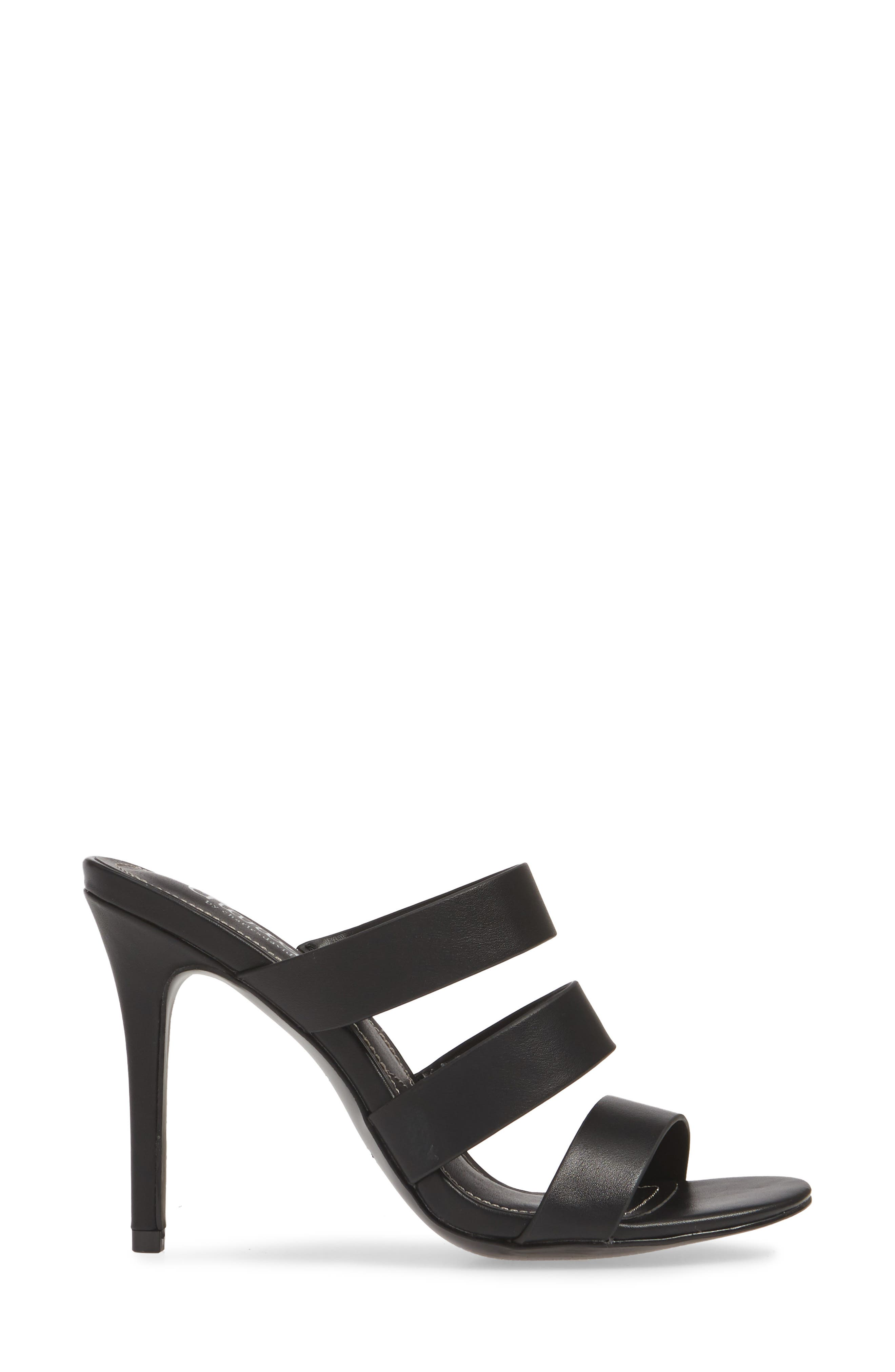 CHARLES BY CHARLES DAVID, Rivalary Slide Sandal, Alternate thumbnail 3, color, BLACK FAUX LEATHER
