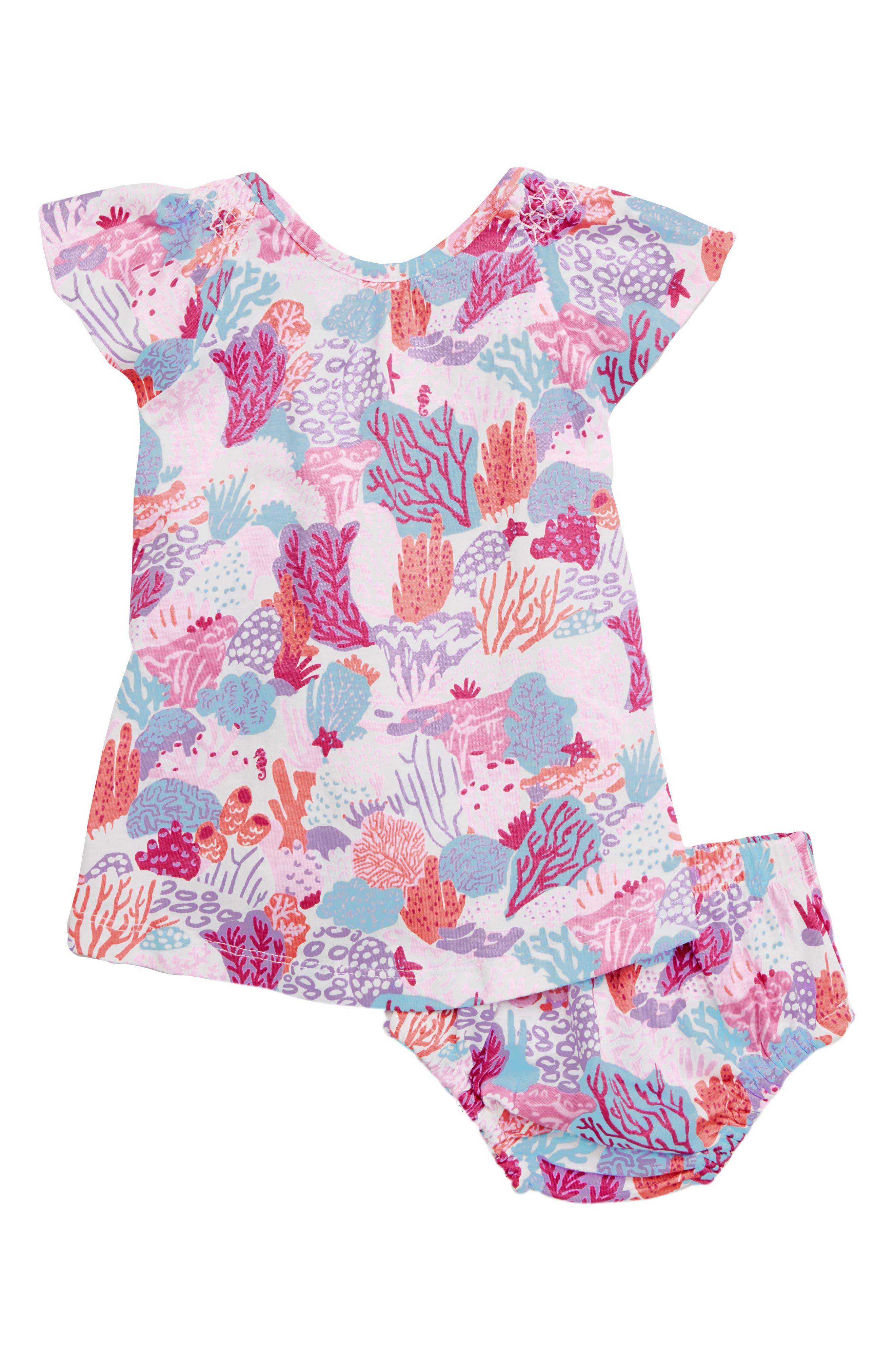 HATLEY, Island Reef Flutter Sleeve Dress, Main thumbnail 1, color, WHITE