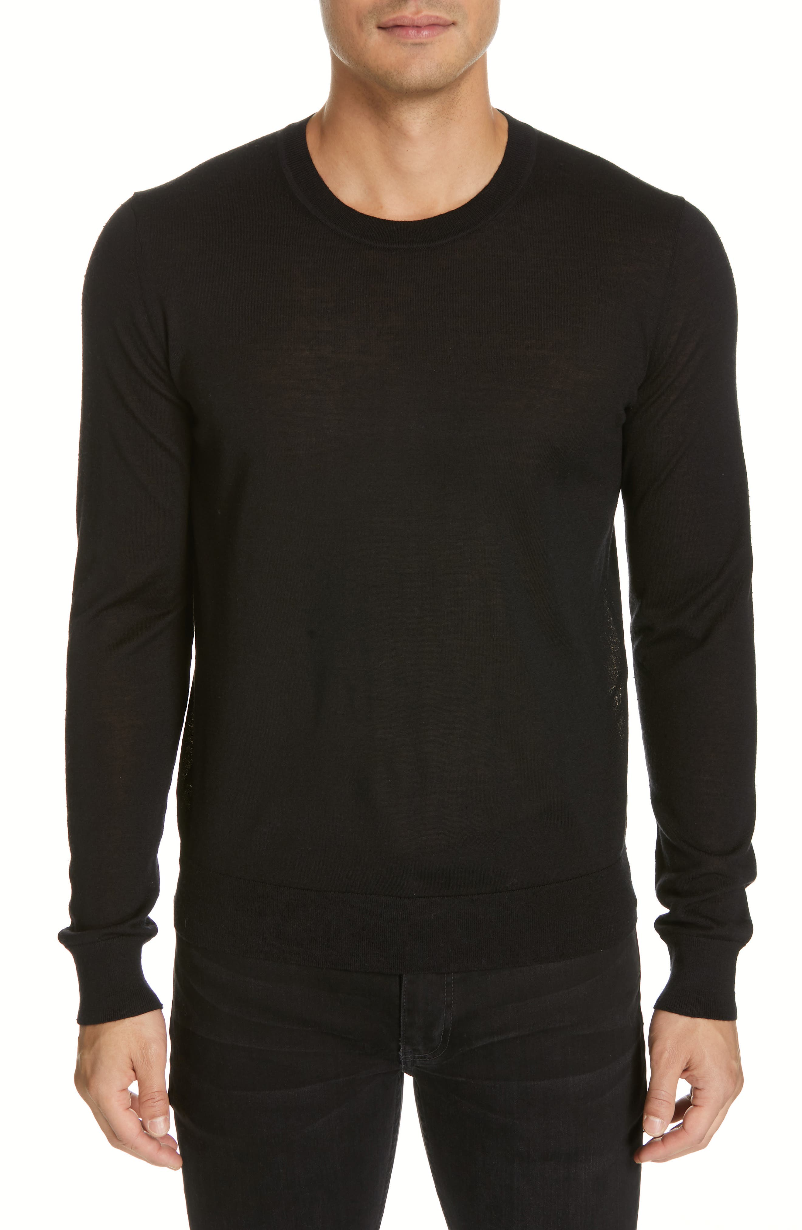 HELMUT LANG, Back Logo Wool & Silk Sweatshirt, Main thumbnail 1, color, BLACK