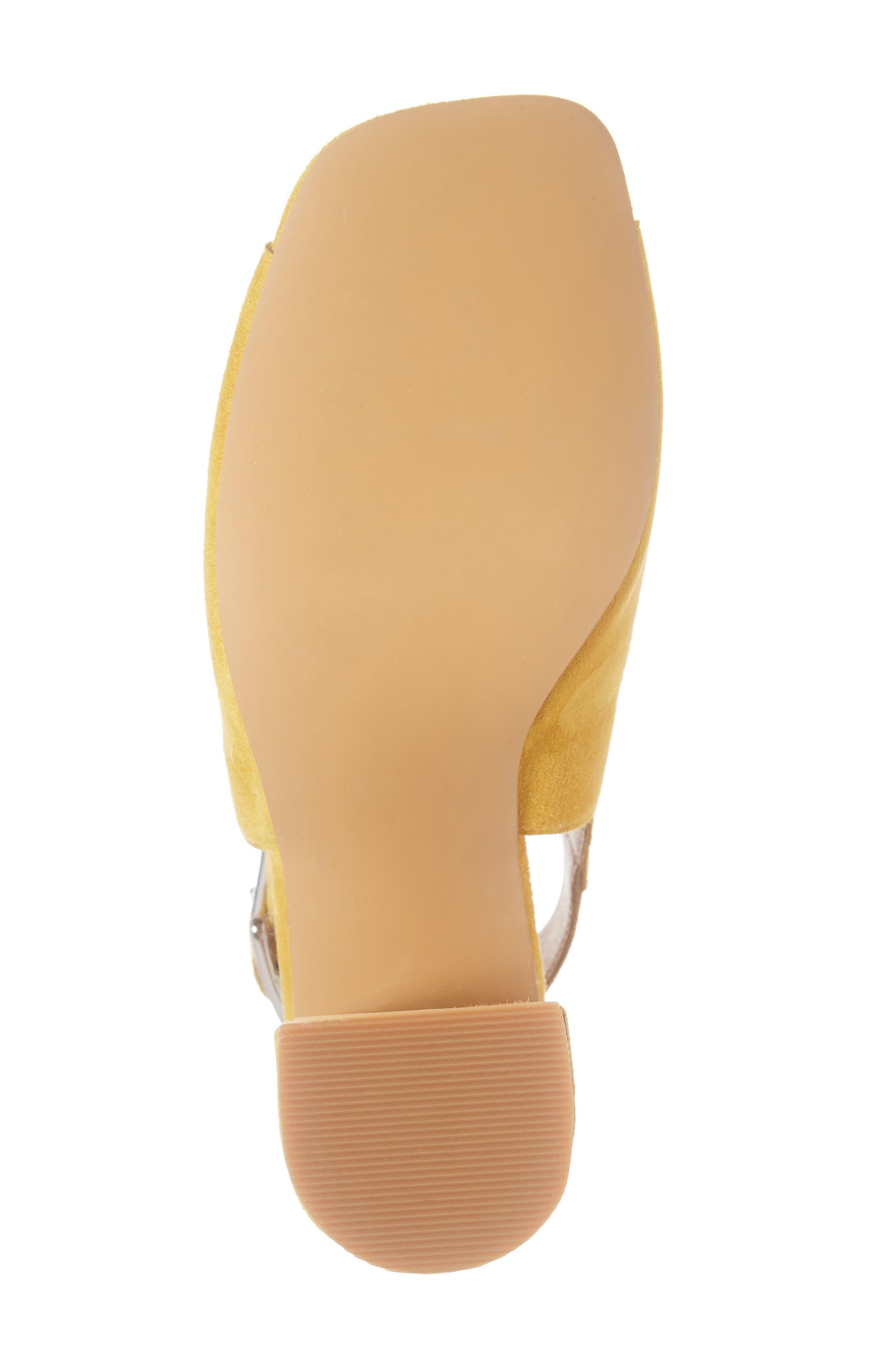 BP., Block Heel Sandal, Alternate thumbnail 6, color, YELLOW SUEDE