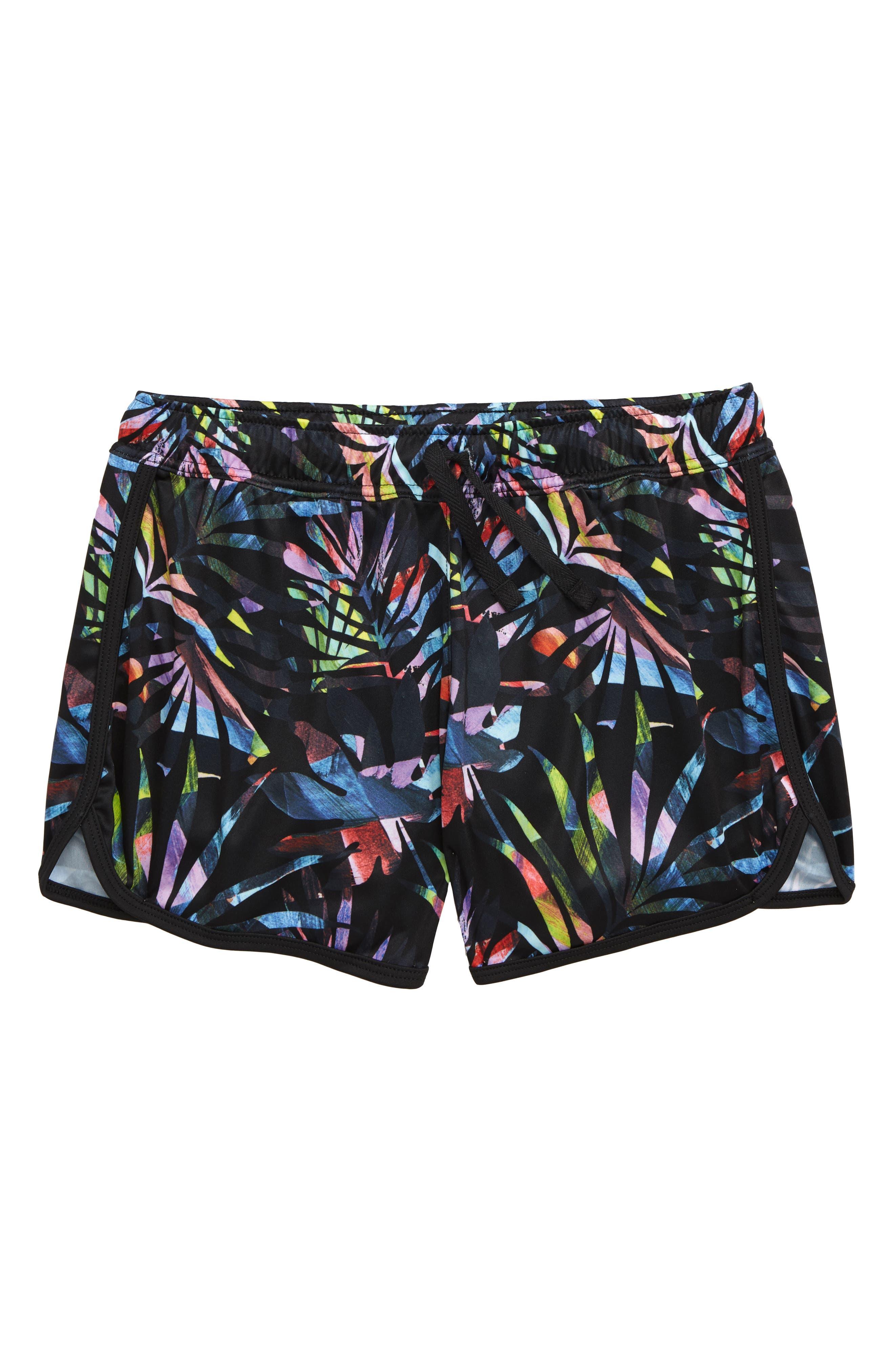 ZELLA GIRL Zephyr Print Shorts, Main, color, BLACK MULTI WATERCOLOR FROND