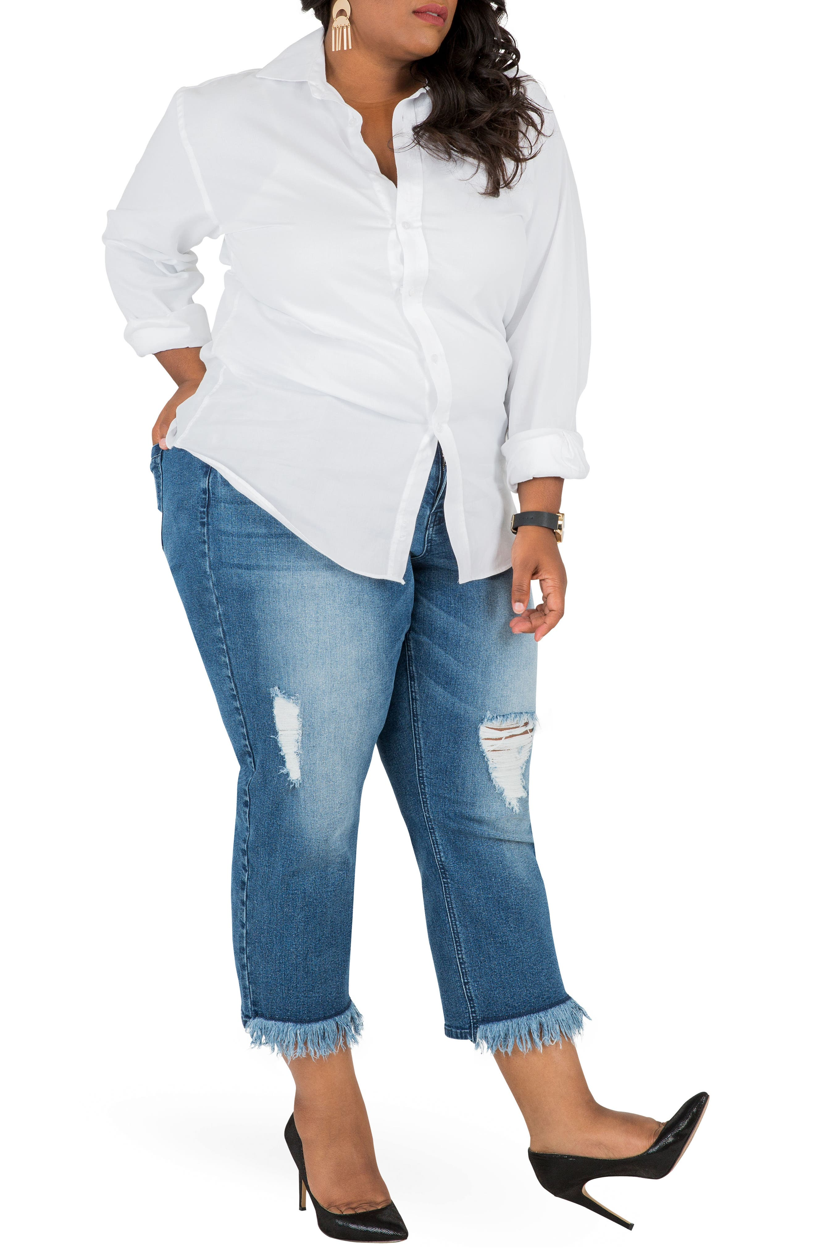 POETIC JUSTICE, Verla Frayed Hem Crop Boyfriend Jeans, Alternate thumbnail 5, color, LIGHT BLUE