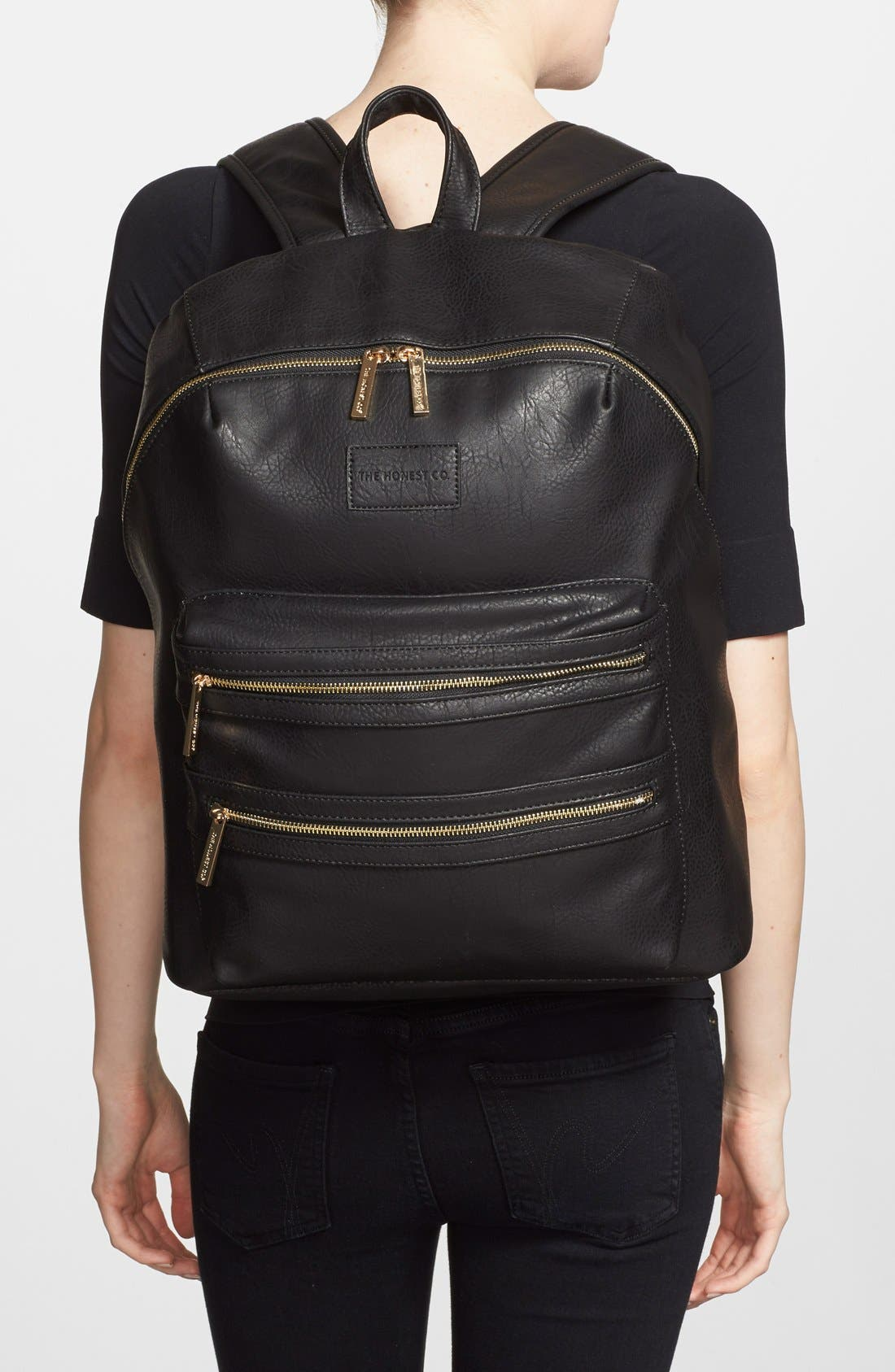 THE HONEST COMPANY, 'City' Faux Leather Diaper Backpack, Alternate thumbnail 3, color, BLACK