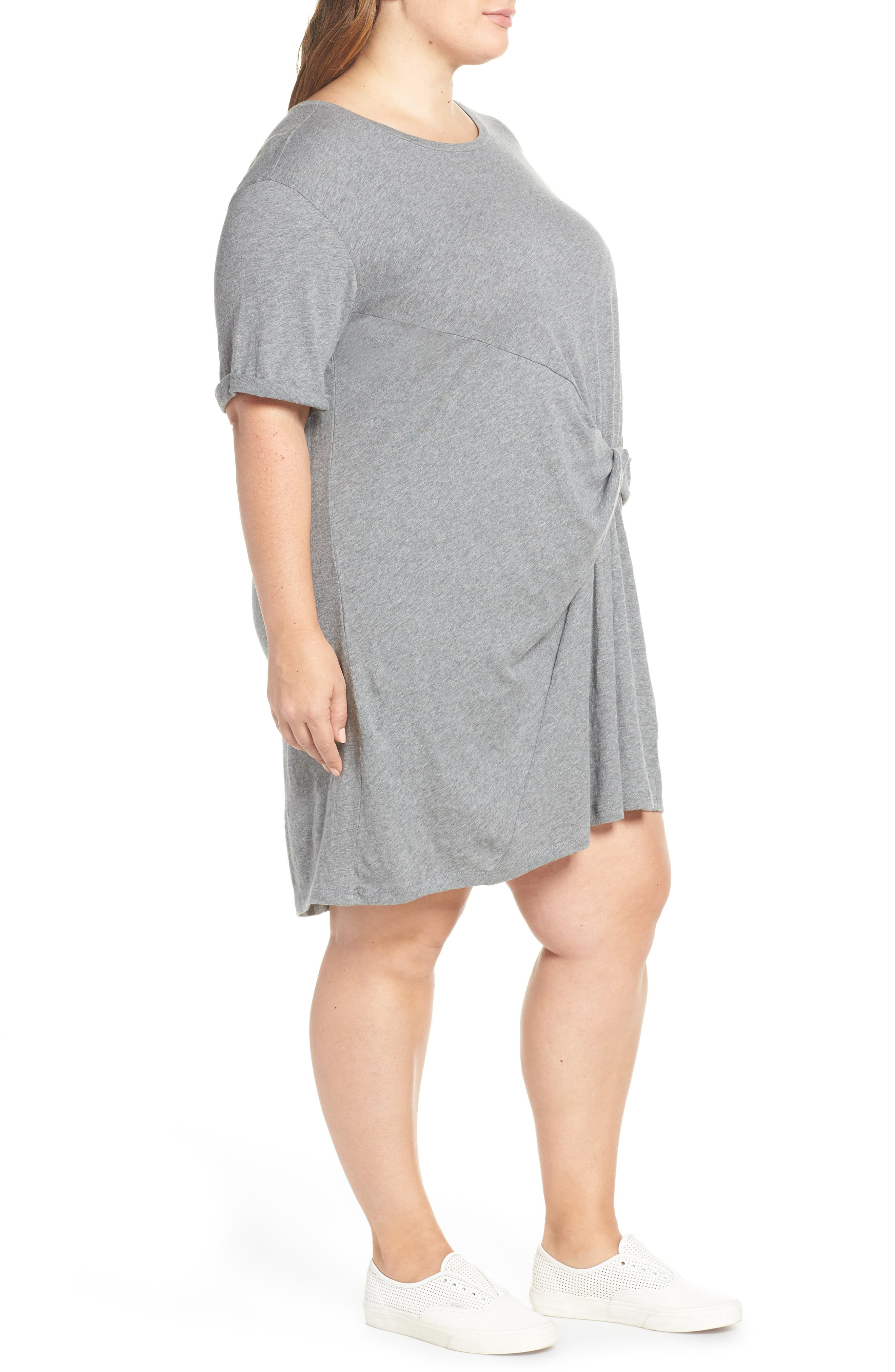 CASLON<SUP>®</SUP>, Knot Front T-Shirt Dress, Alternate thumbnail 4, color, GREY DARK HEATHER
