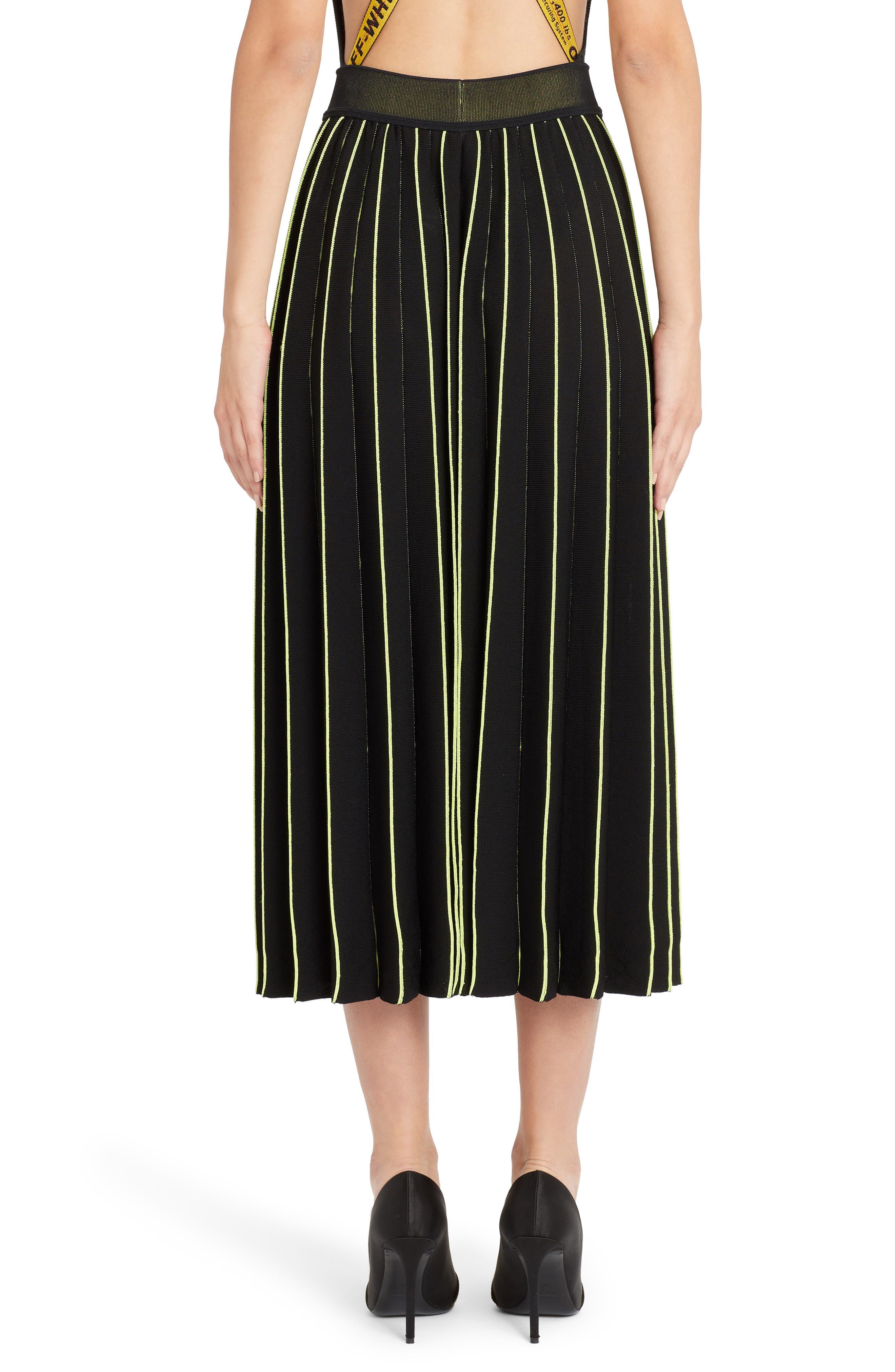 OFF-WHITE, Plissé Sweater Skirt, Alternate thumbnail 2, color, BLACK