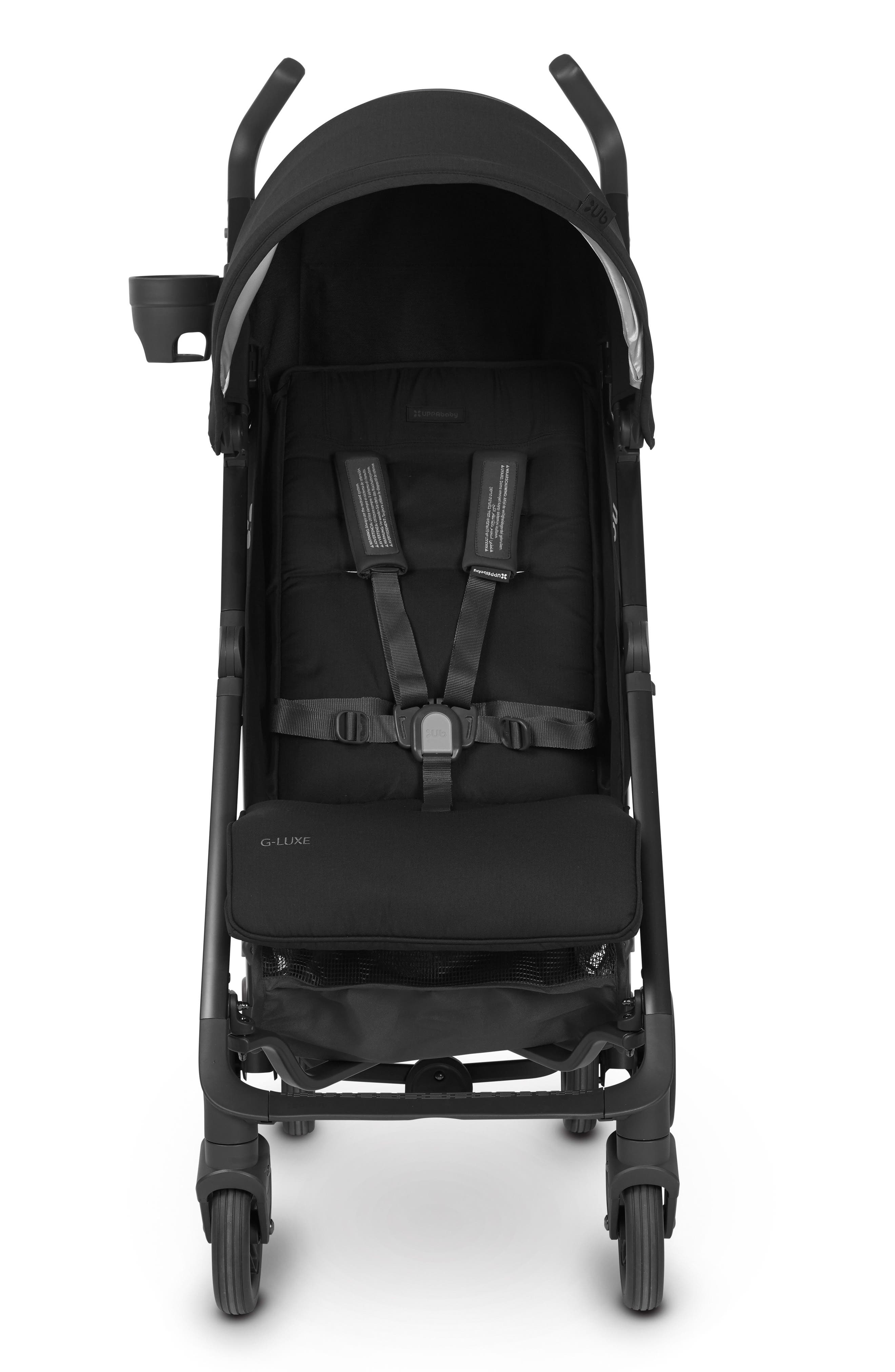 UPPABABY, G-LUXE 2018 Reclining Umbrella Stroller, Alternate thumbnail 4, color, JAKE BLACK/ CARBON