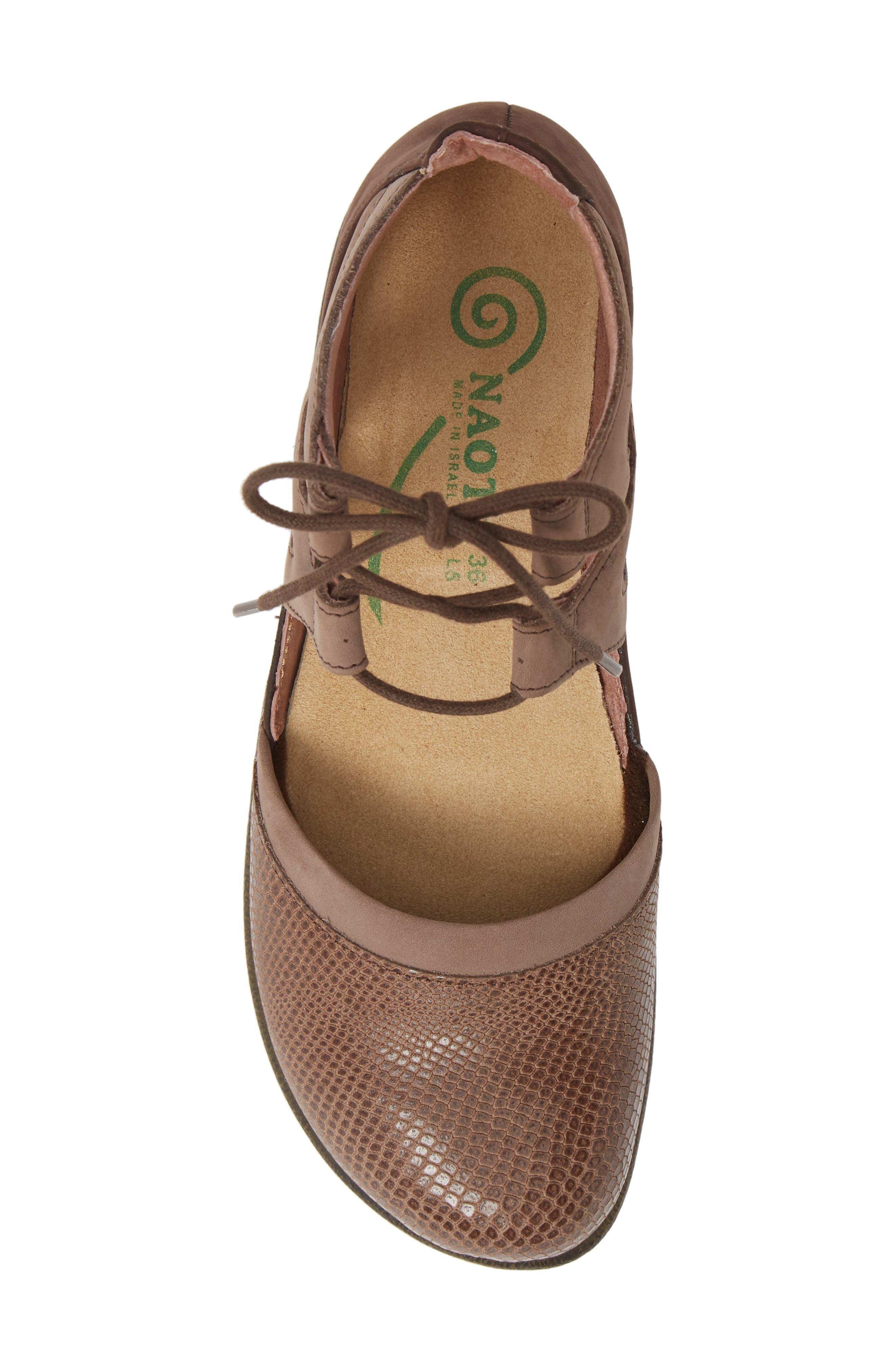 NAOT, Kata Lace-Up Sandal, Alternate thumbnail 5, color, BROWN/ SHIITAKE LEATHER