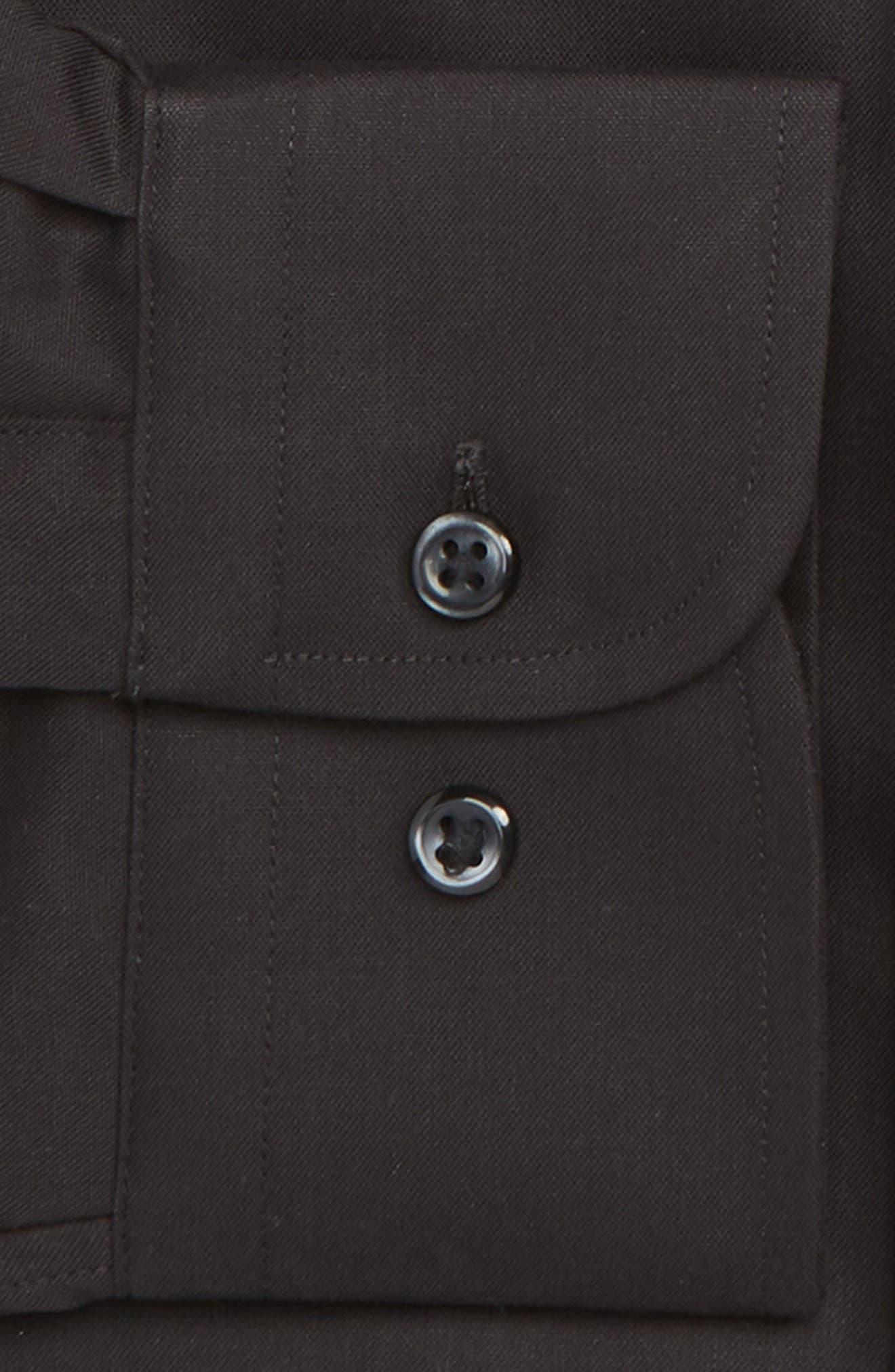 NORDSTROM MEN'S SHOP, Classic Fit Non-Iron Dress Shirt, Alternate thumbnail 6, color, BLACK