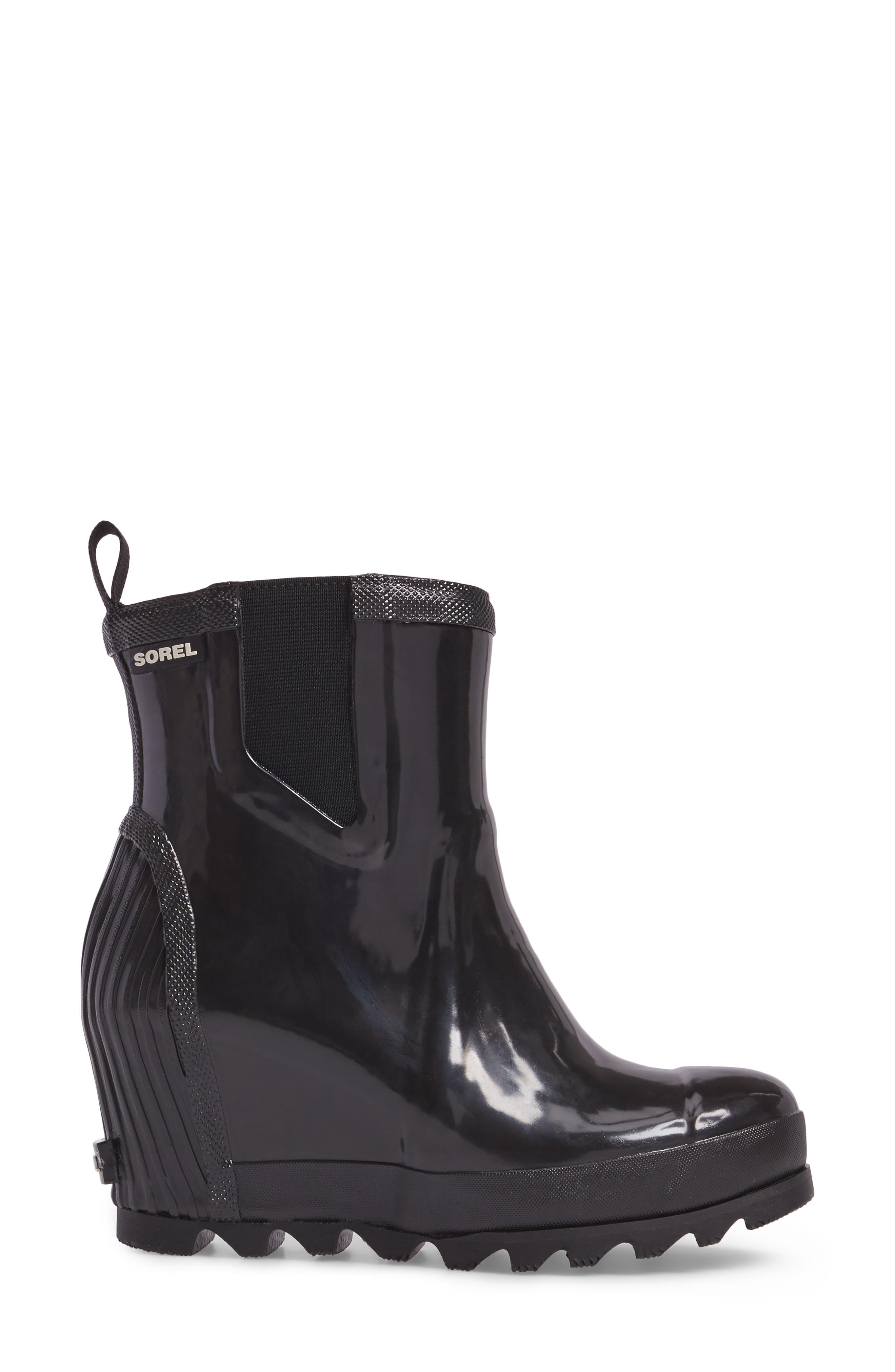SOREL, Joan Glossy Wedge Waterproof Rain Boot, Alternate thumbnail 3, color, BLACK/ SEA SALT