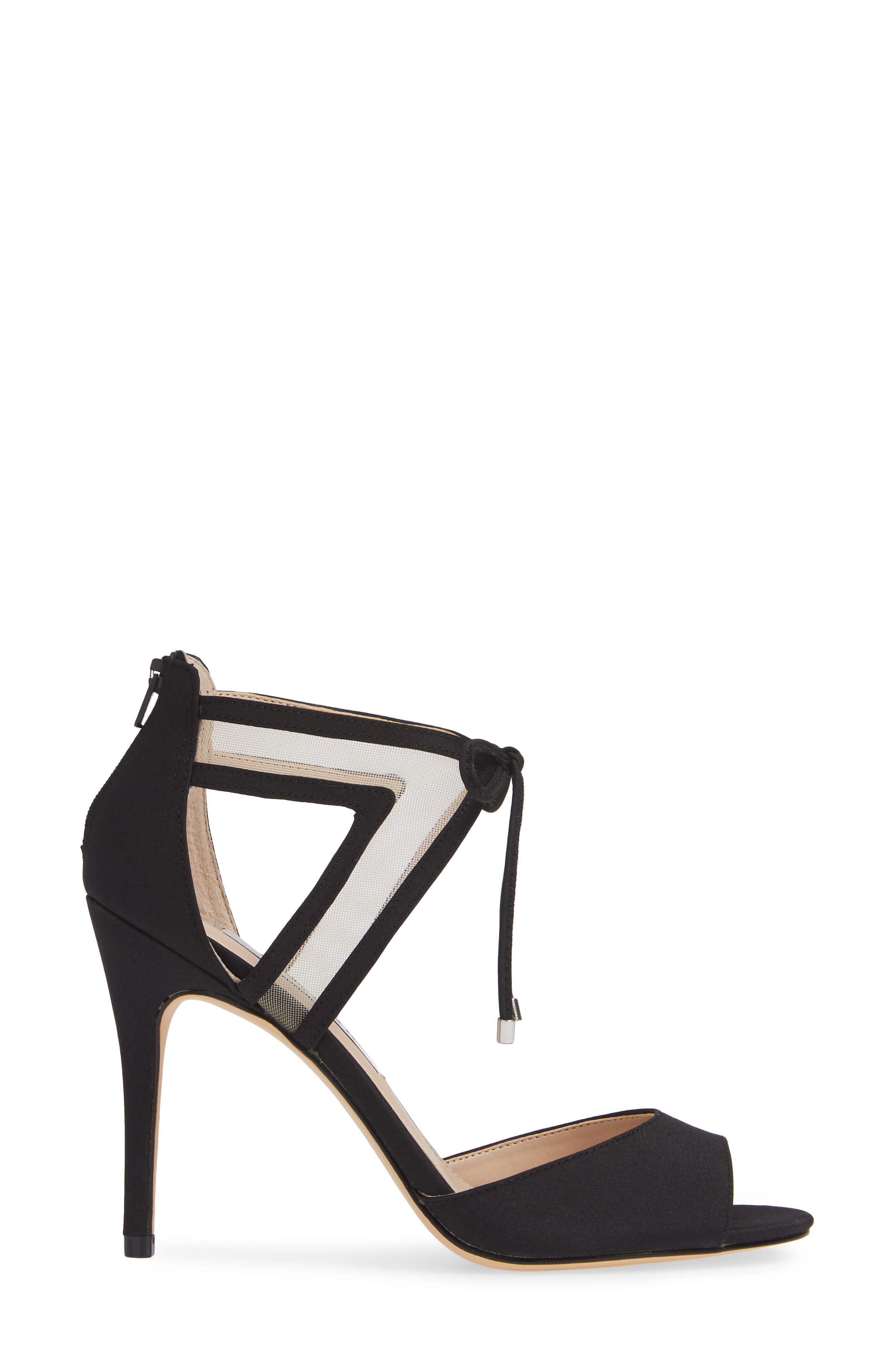NINA, Caleya Ankle Tie Sandal, Alternate thumbnail 3, color, BLACK CHAMPAGNE