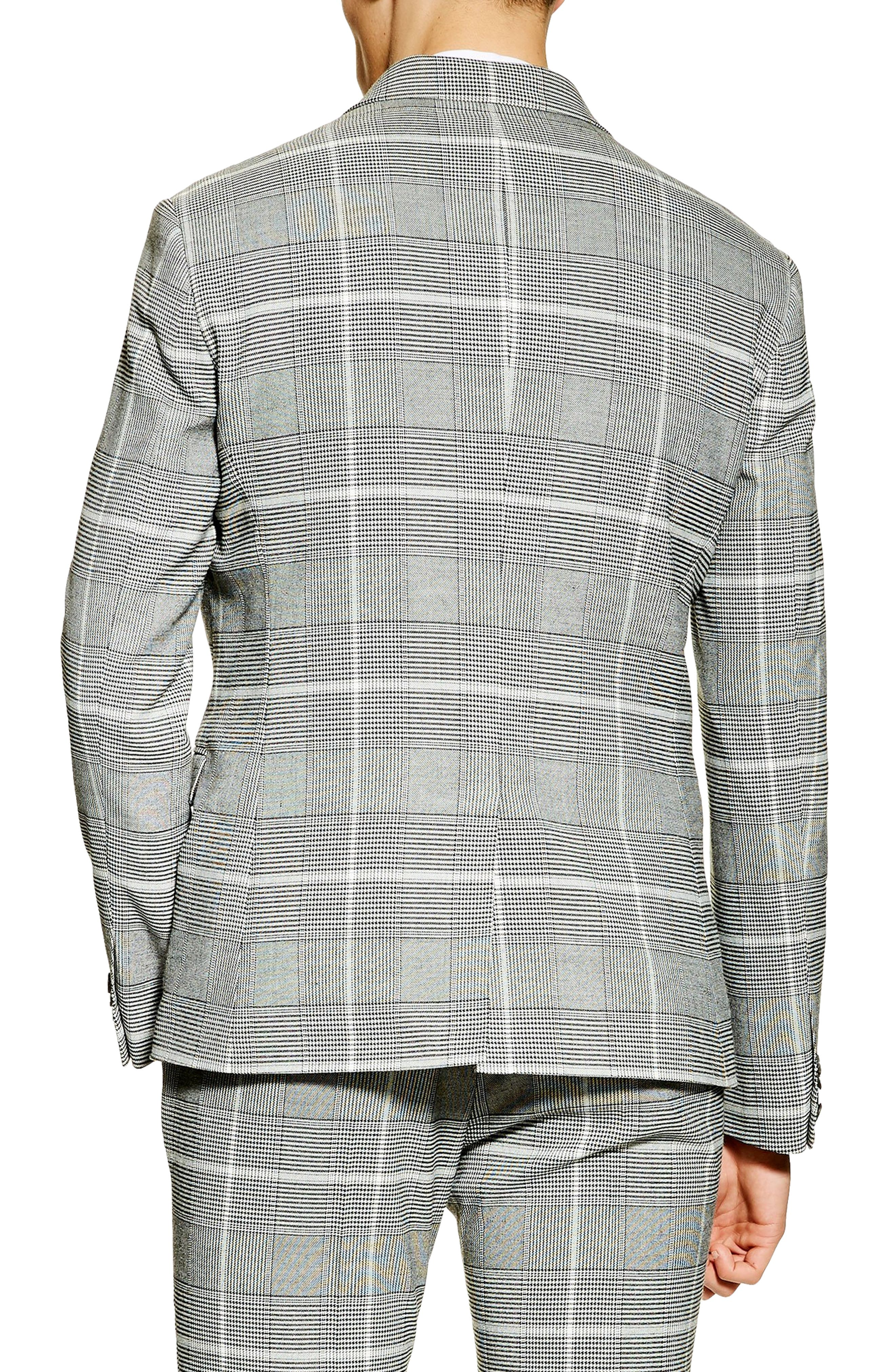TOPMAN, Skinny Fit Check Suit Jacket, Alternate thumbnail 2, color, 020