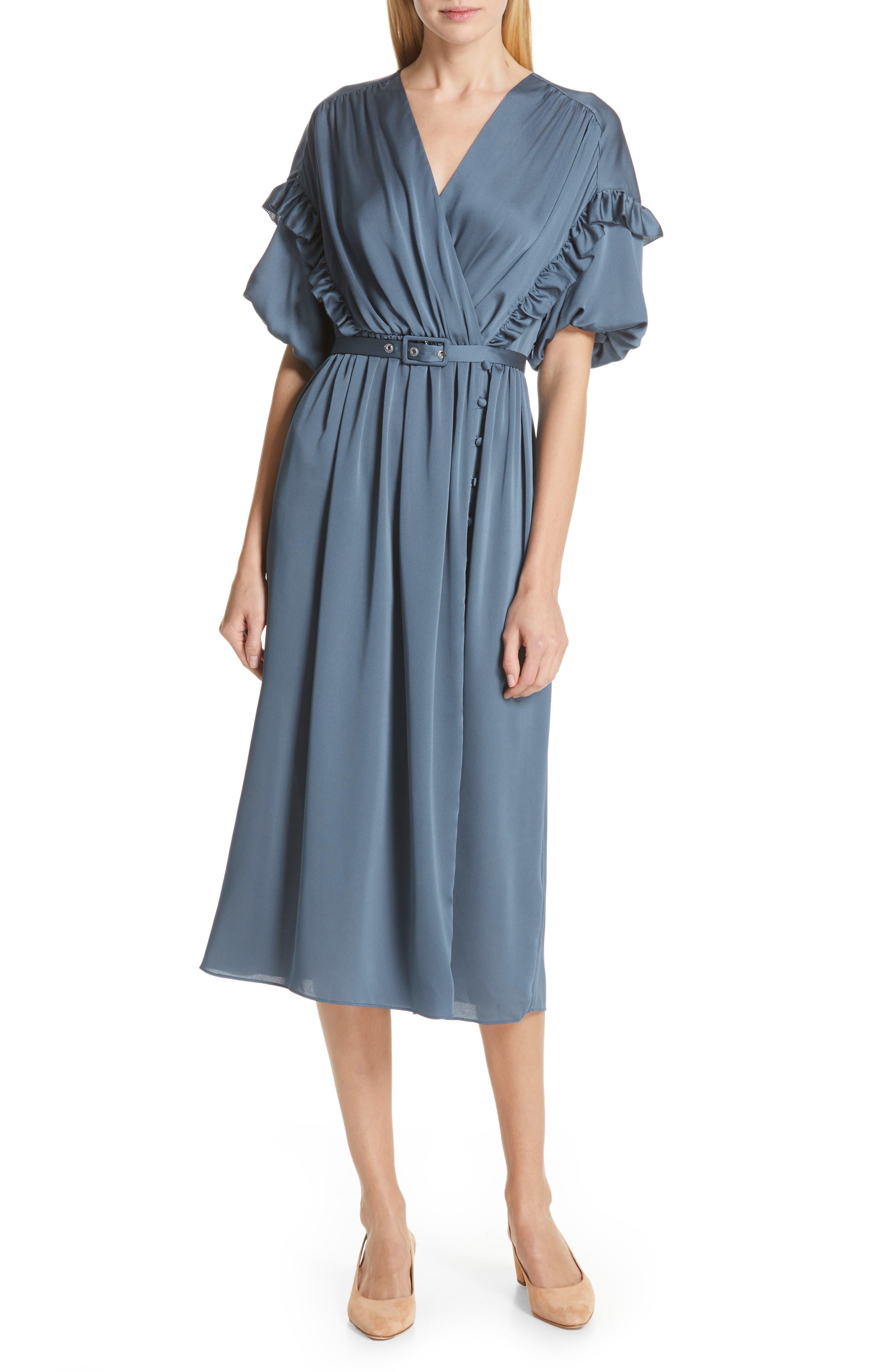 Kate Spade New York Satin Midi Dress, Blue