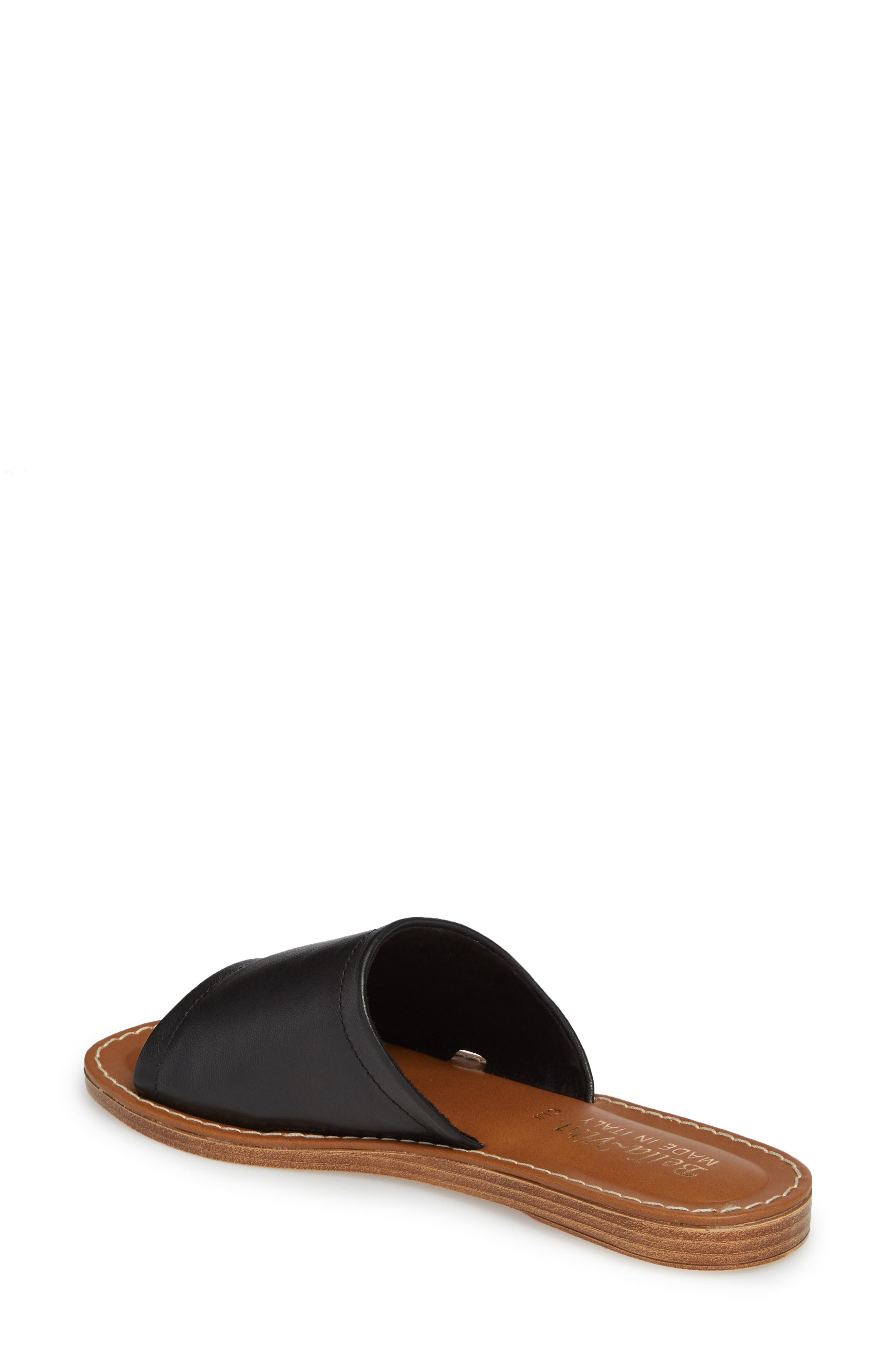 BELLA VITA, Ros Slide Sandal, Alternate thumbnail 2, color, BLACK LEATHER