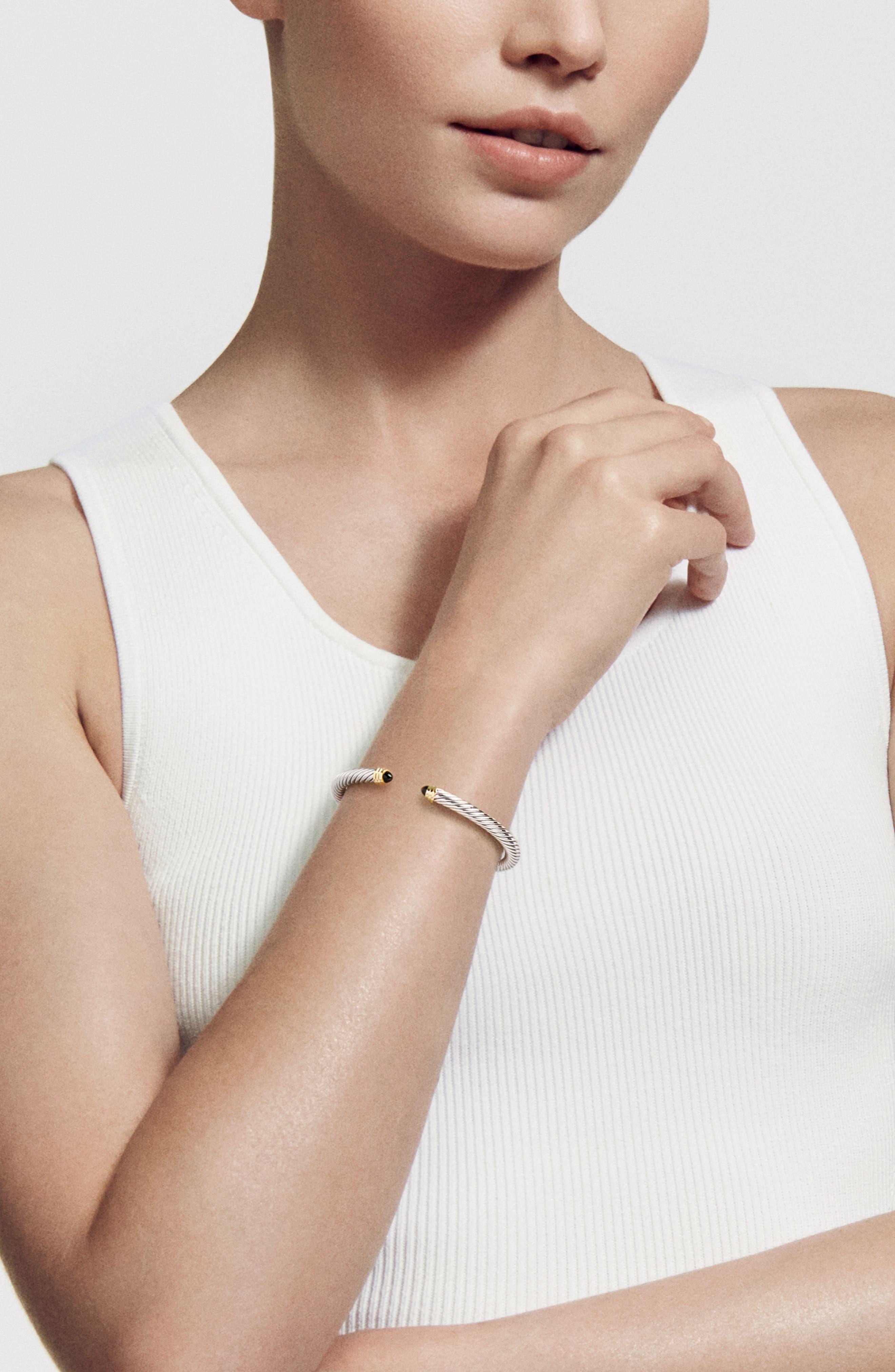 DAVID YURMAN, Cable Classics Bracelet with Semiprecious Stones & 14K Gold, 5mm, Alternate thumbnail 2, color, BLACK ONYX