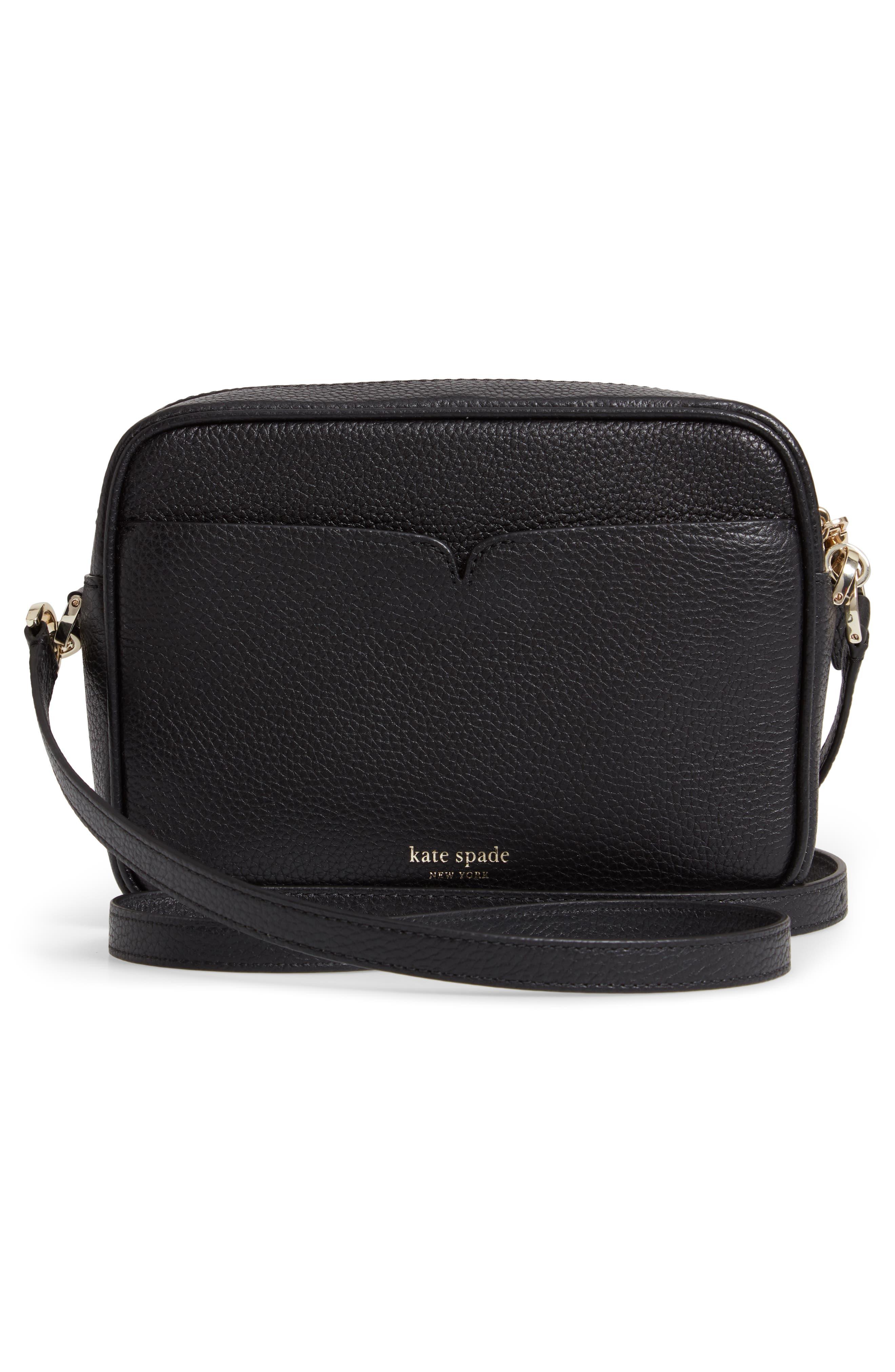 KATE SPADE NEW YORK, medium polly leather camera bag, Alternate thumbnail 4, color, BLACK