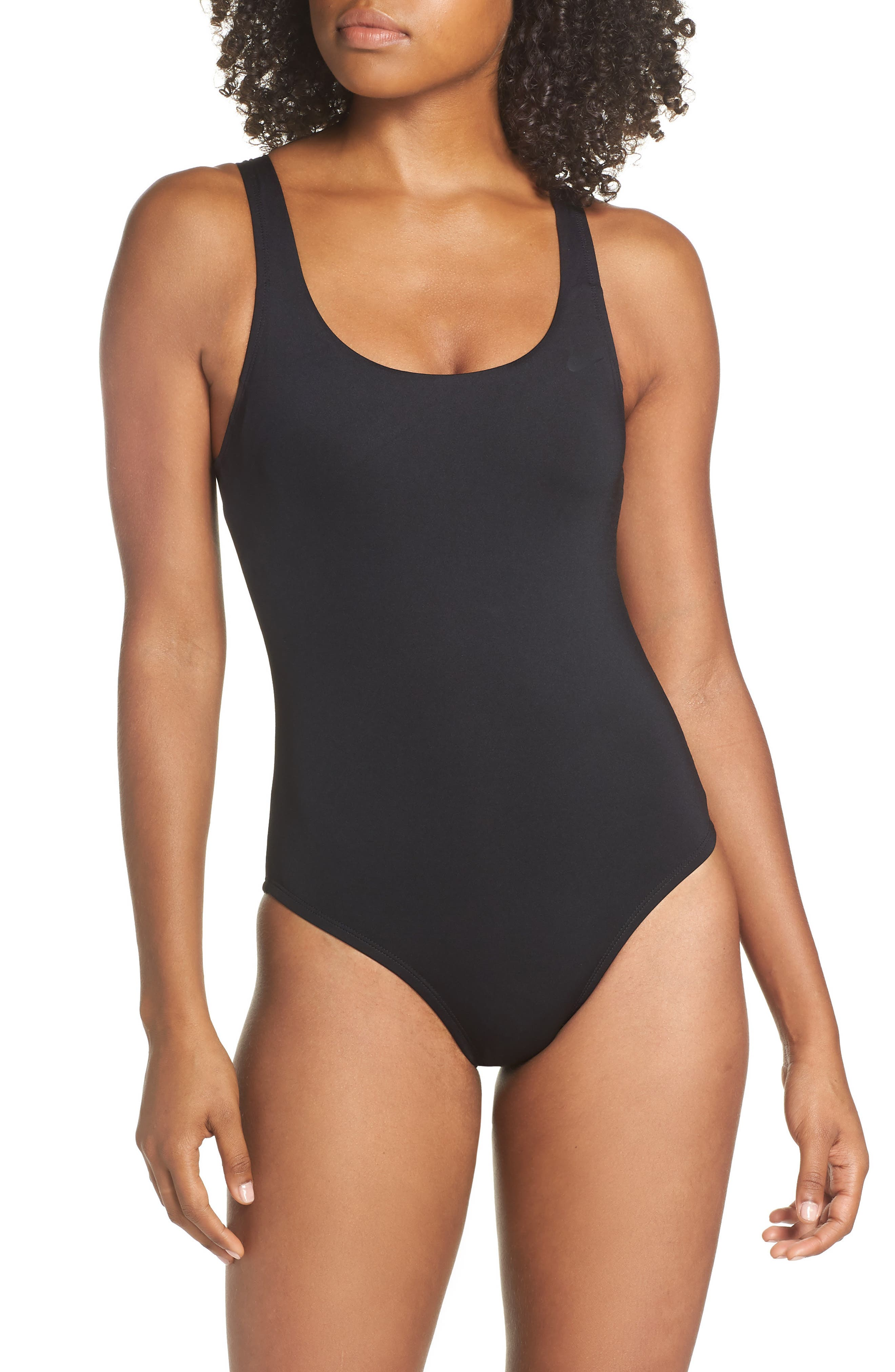 NIKE, U-Back One-Piece Swimsuit, Main thumbnail 1, color, BLACK