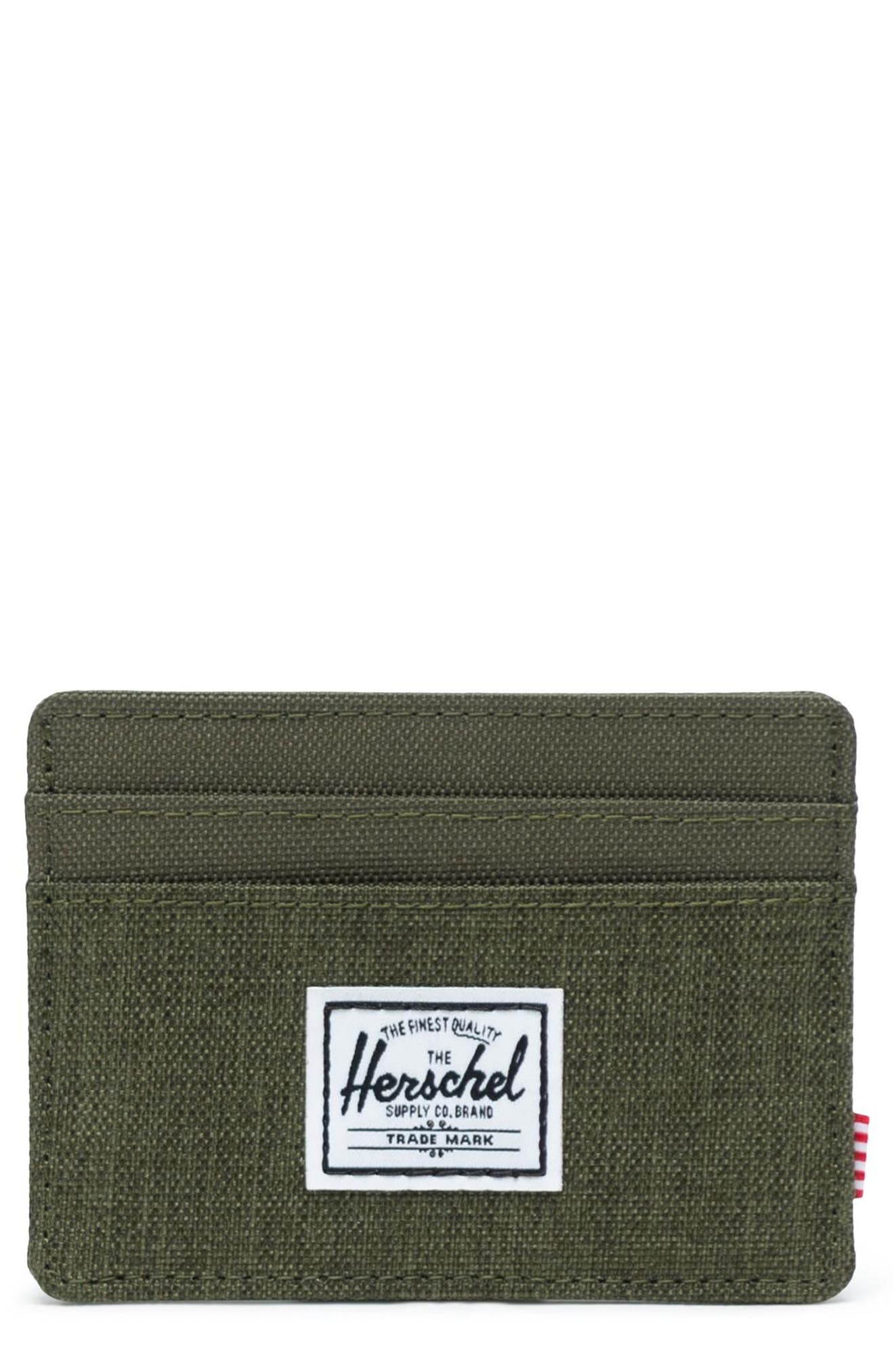 HERSCHEL SUPPLY CO., Charlie Card Case, Main thumbnail 1, color, OLIVE NIGHT CROSSHATCH