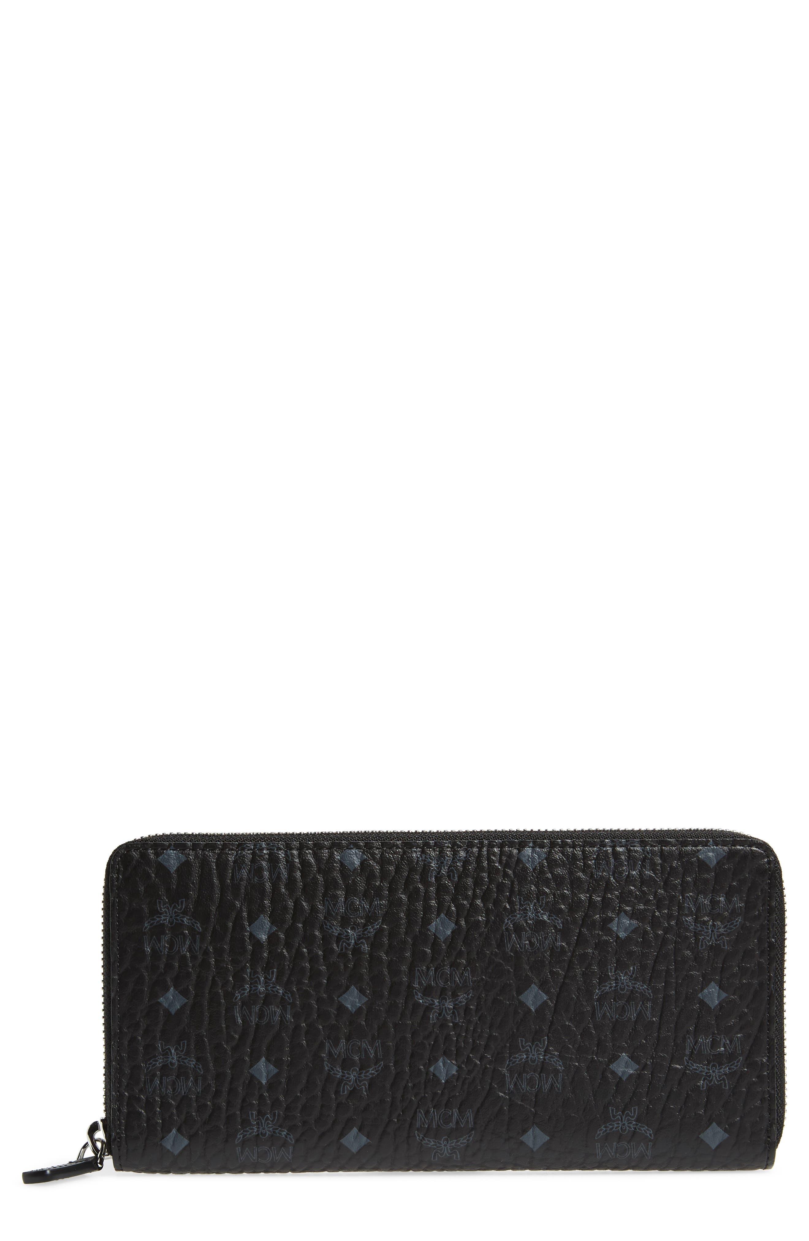 MCM Visetos Original Zip Around Coated Canvas Wallet, Main, color, BLACK
