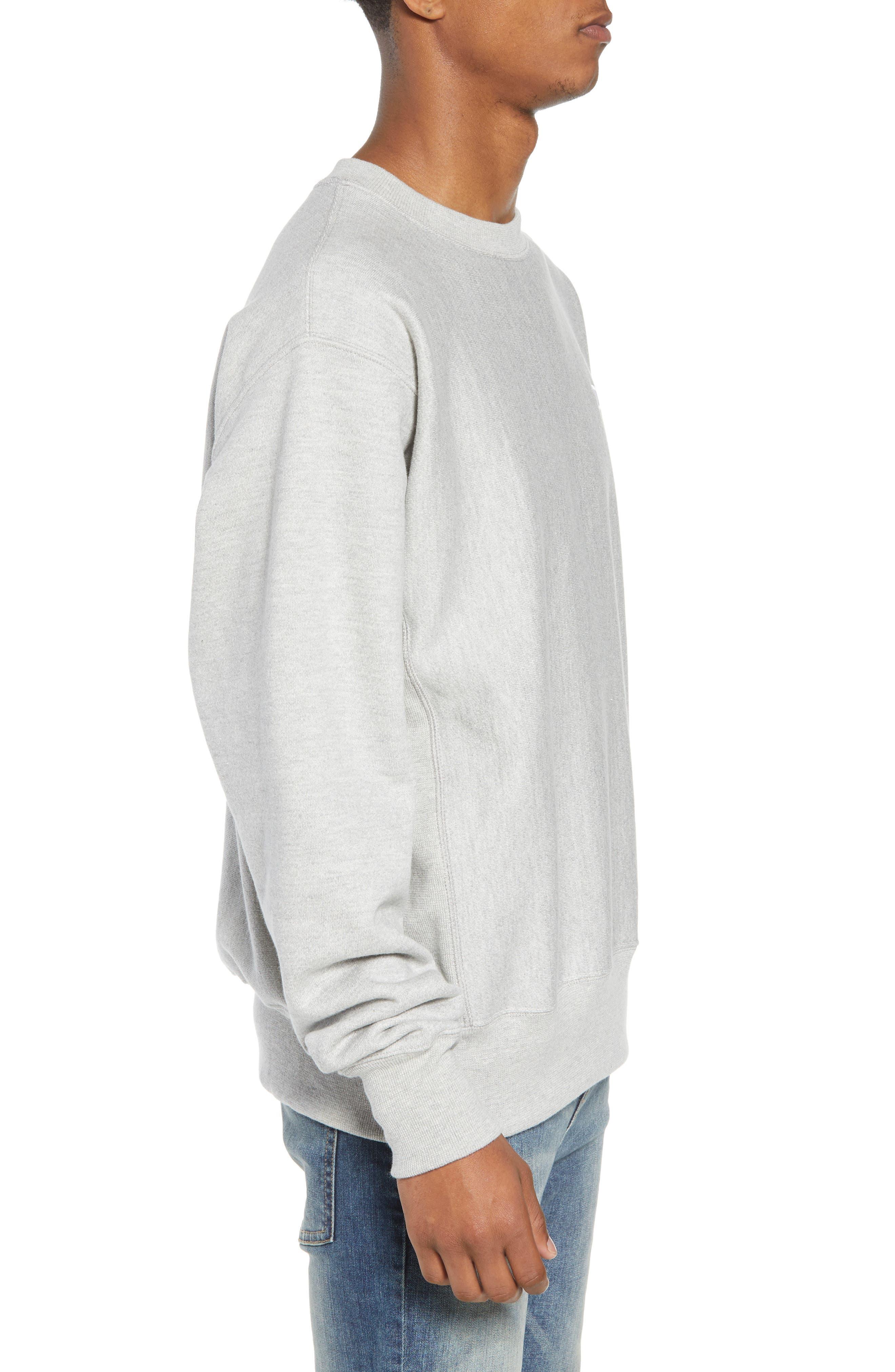 CHAMPION, Reverse Weave Sweatshirt, Alternate thumbnail 3, color, OXFORD GRAY