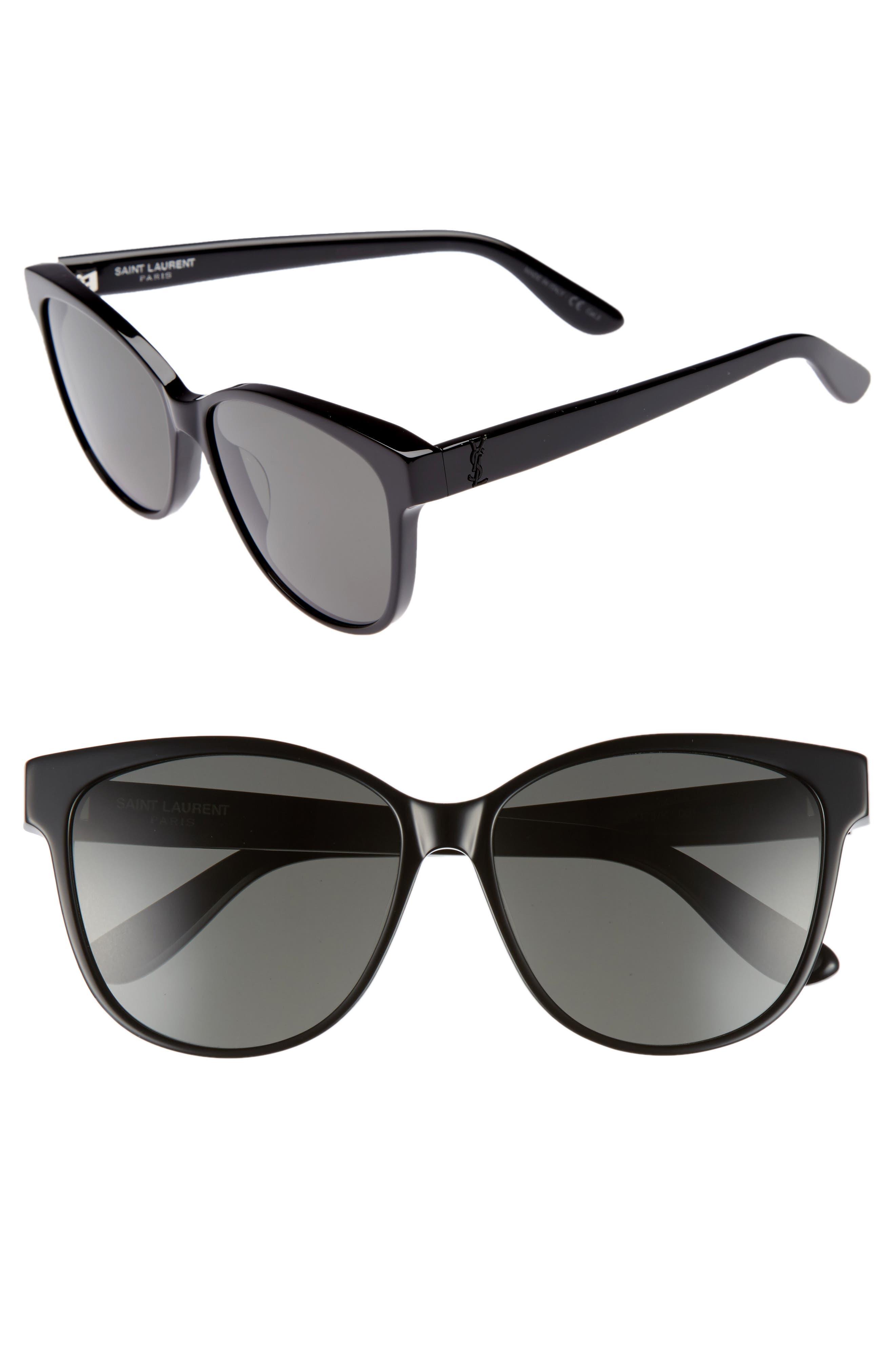 SAINT LAURENT, 58mm Cat Eye Sunglasses, Main thumbnail 1, color, BLACK